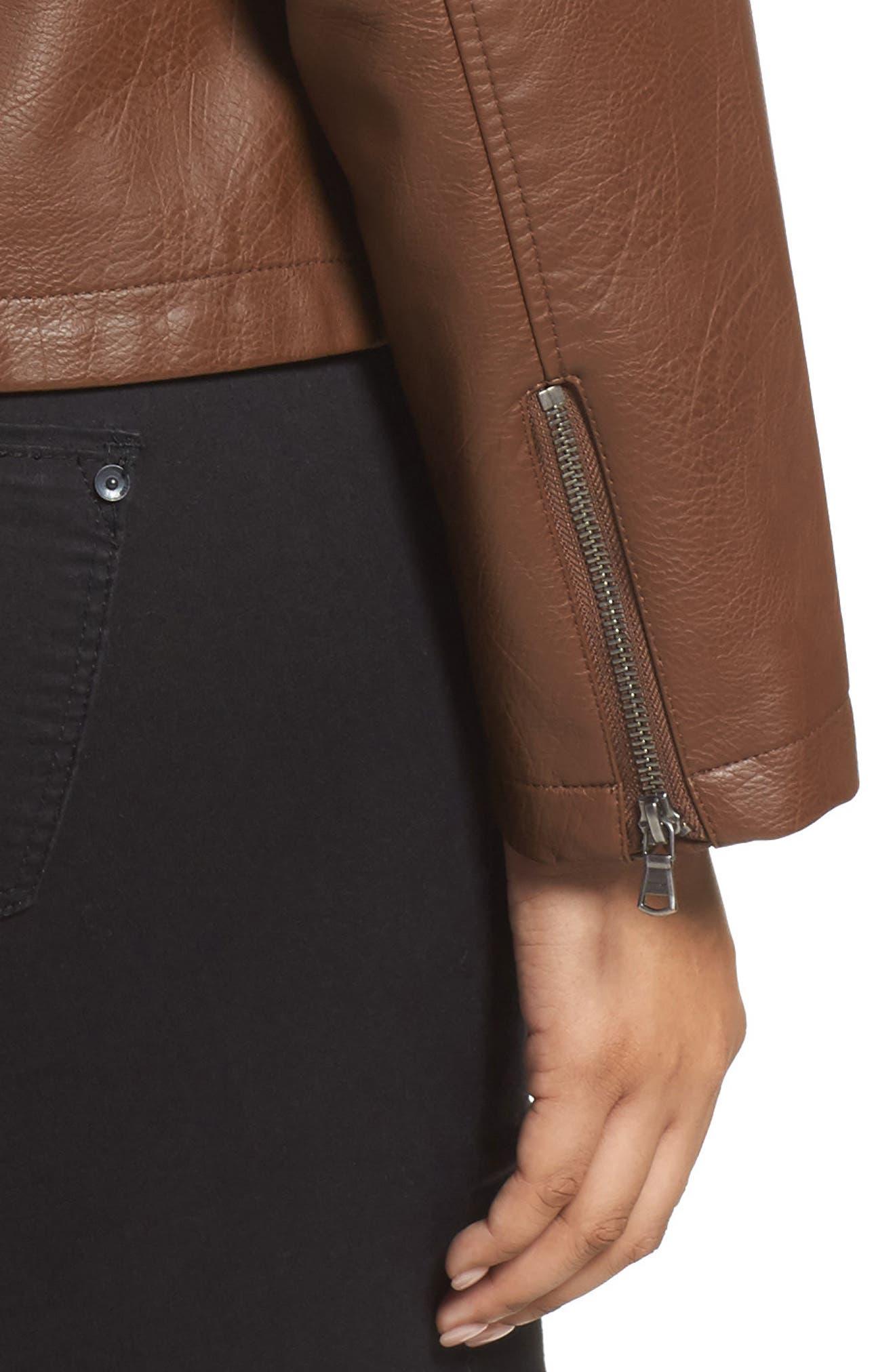 Faux Leather Jacket,                             Alternate thumbnail 4, color,                             Cognac