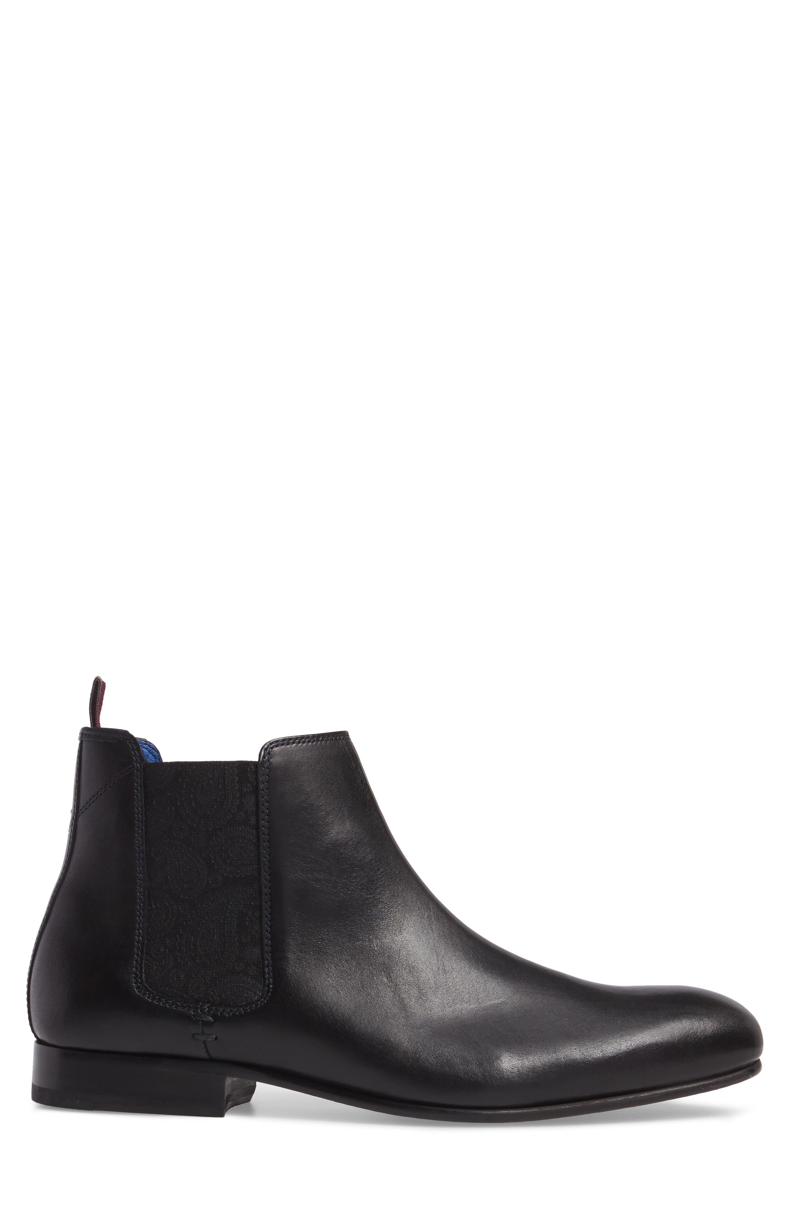 Kayto Chelsea Boot,                             Alternate thumbnail 3, color,                             Black Leather