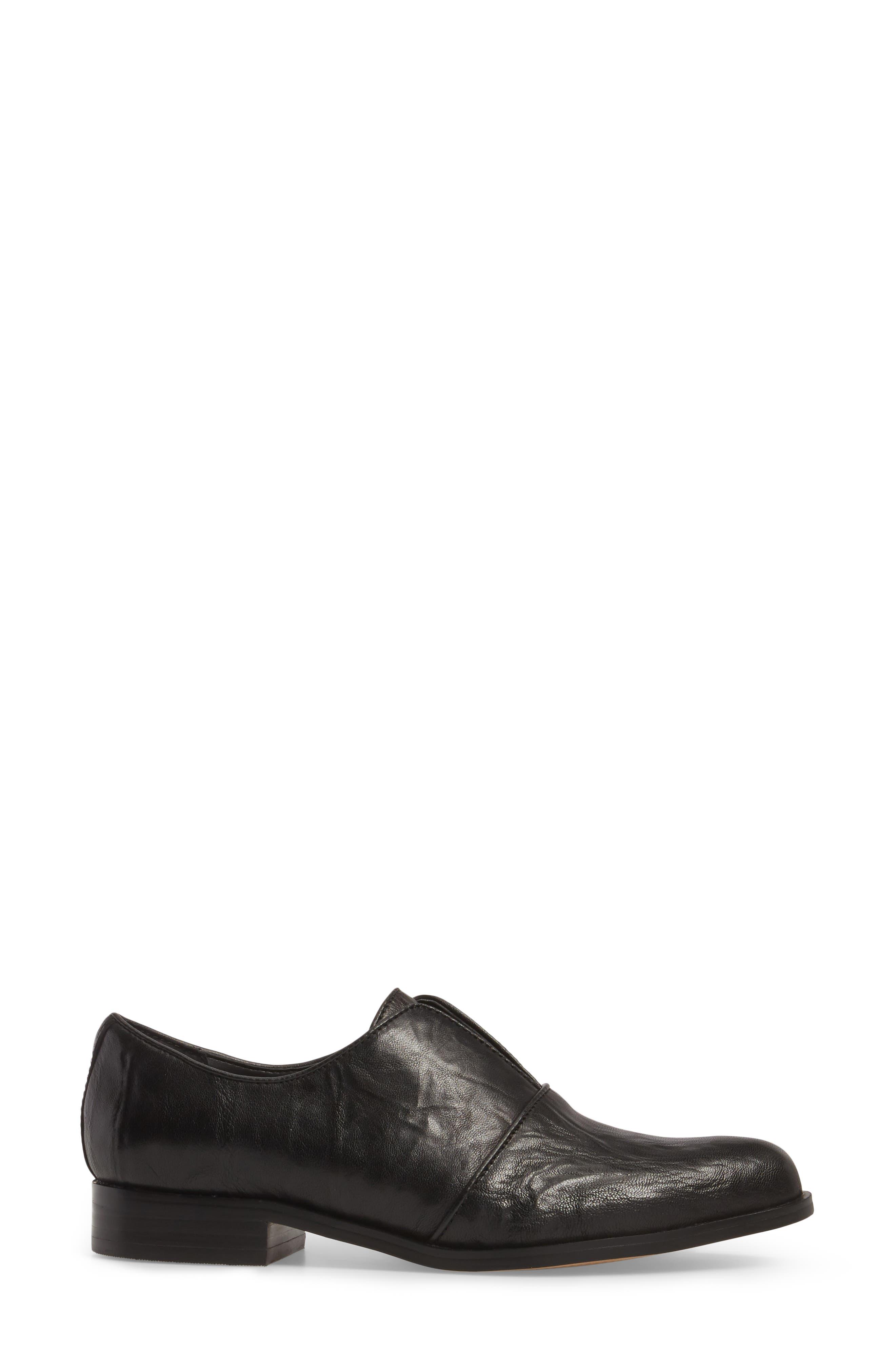 Isola Maria Slip-On Oxford,                             Alternate thumbnail 3, color,                             Black Leather