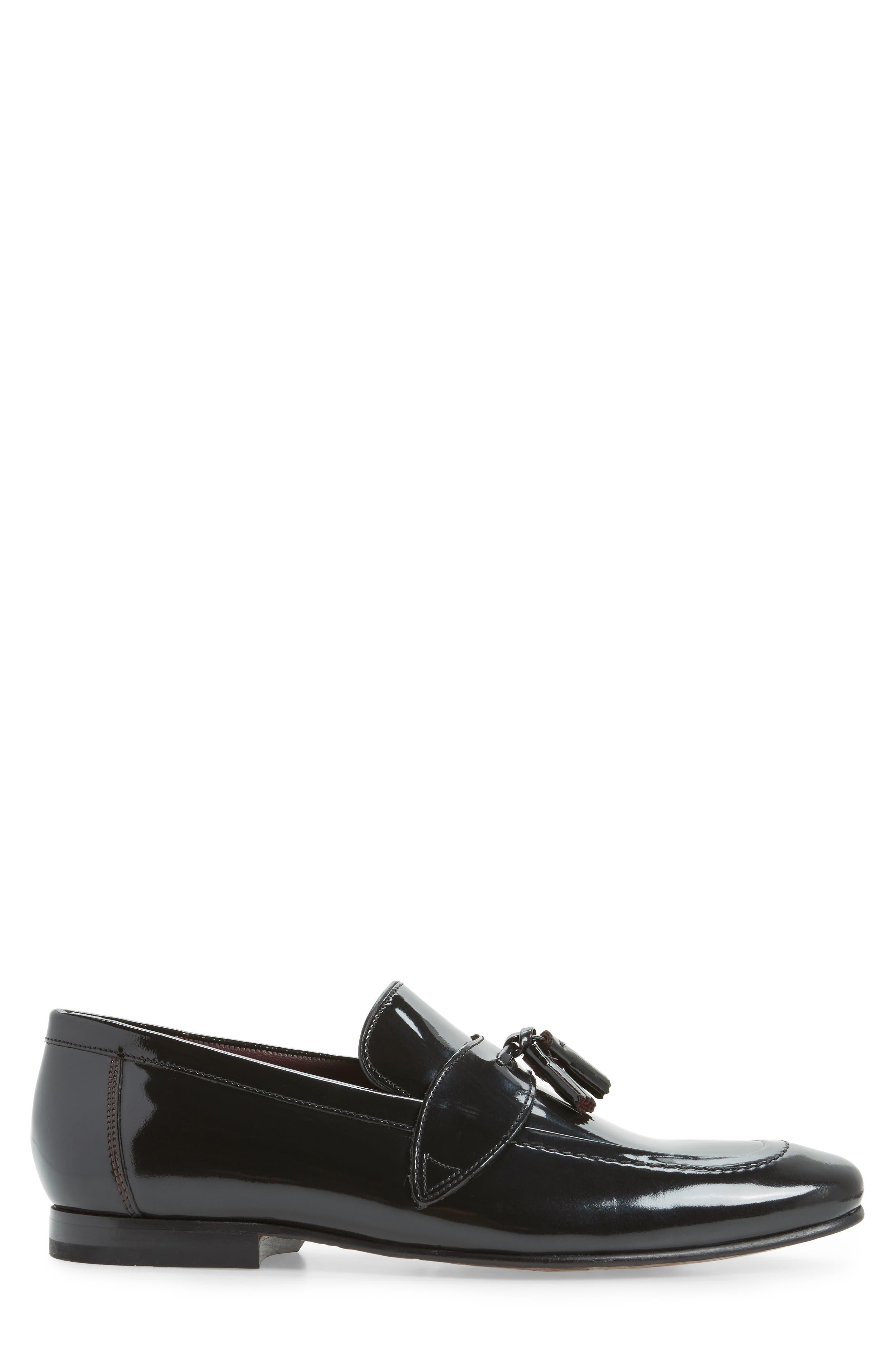 Grafit Tassel Loafer,                             Alternate thumbnail 3, color,                             Black Patent Leather