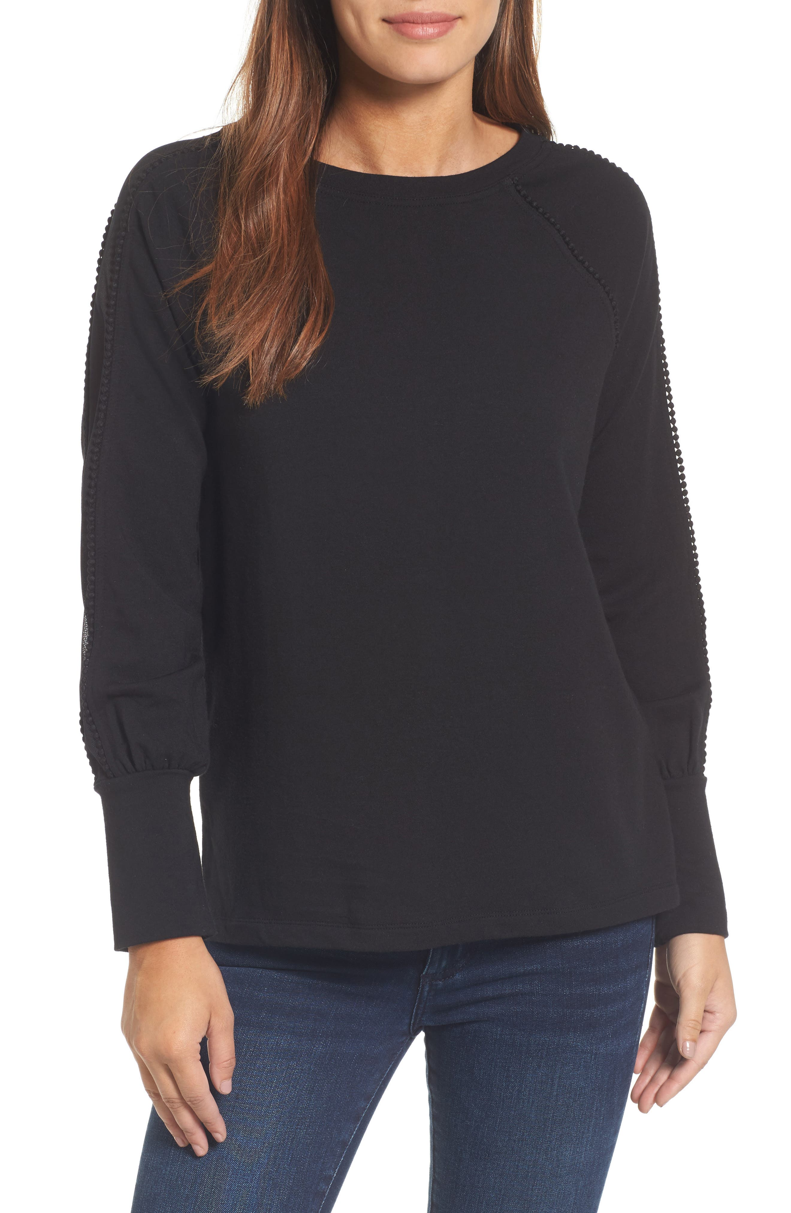 Mesh Inset Sleeve Sweatshirt,                             Main thumbnail 1, color,                             Black