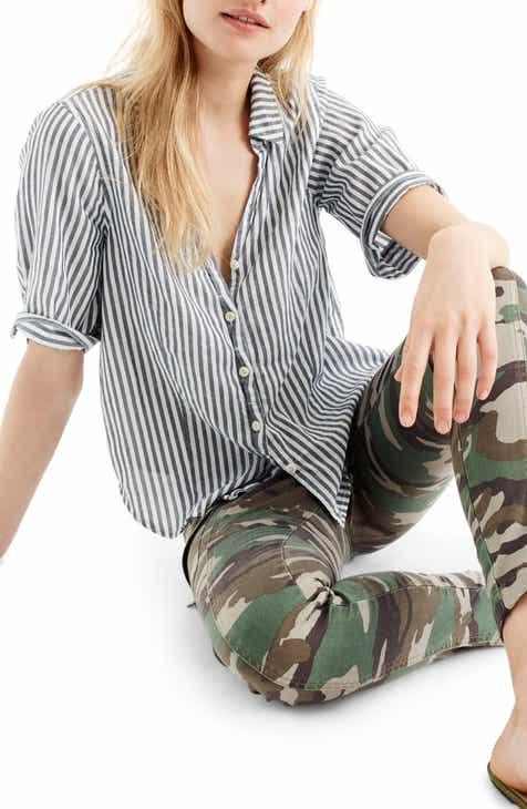 6da30f768 J.Crew Short Sleeve Stripe Button-Up Shirt (Regular & Petite)