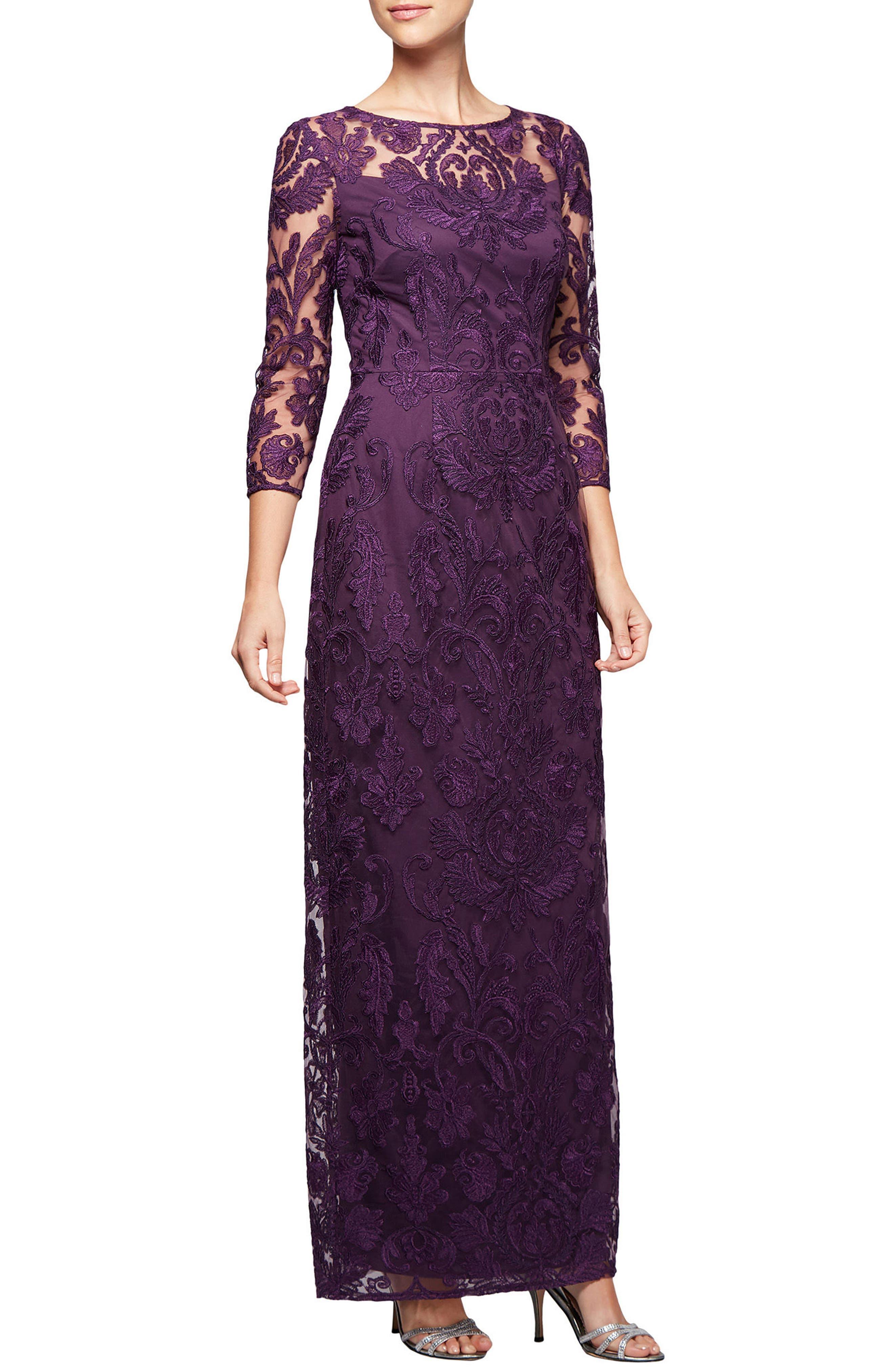 Alex Evenings Embroidered Column Gown (Regular & Petite)