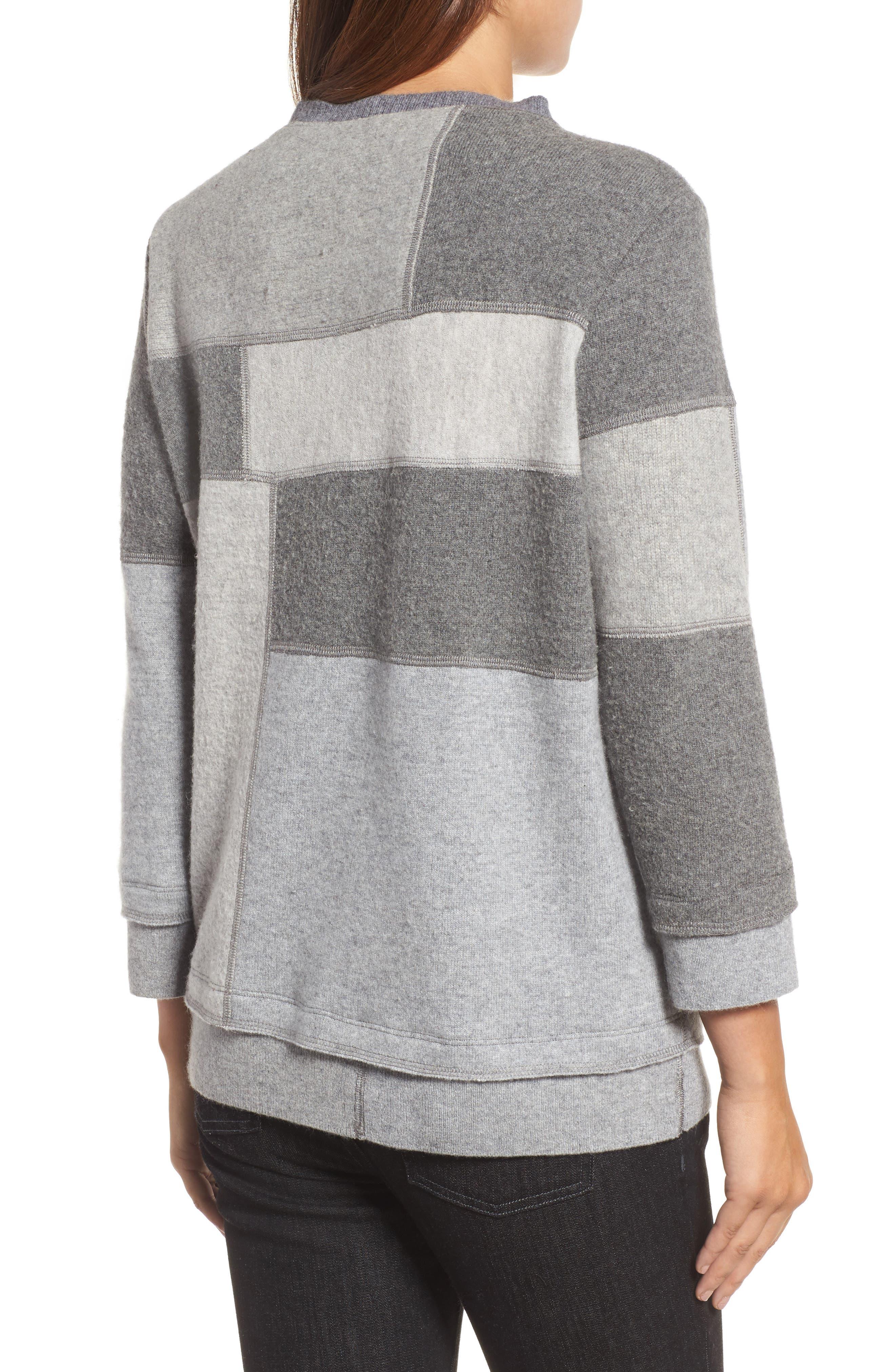 Colorblock Cashmere Sweater,                             Alternate thumbnail 2, color,                             Grey