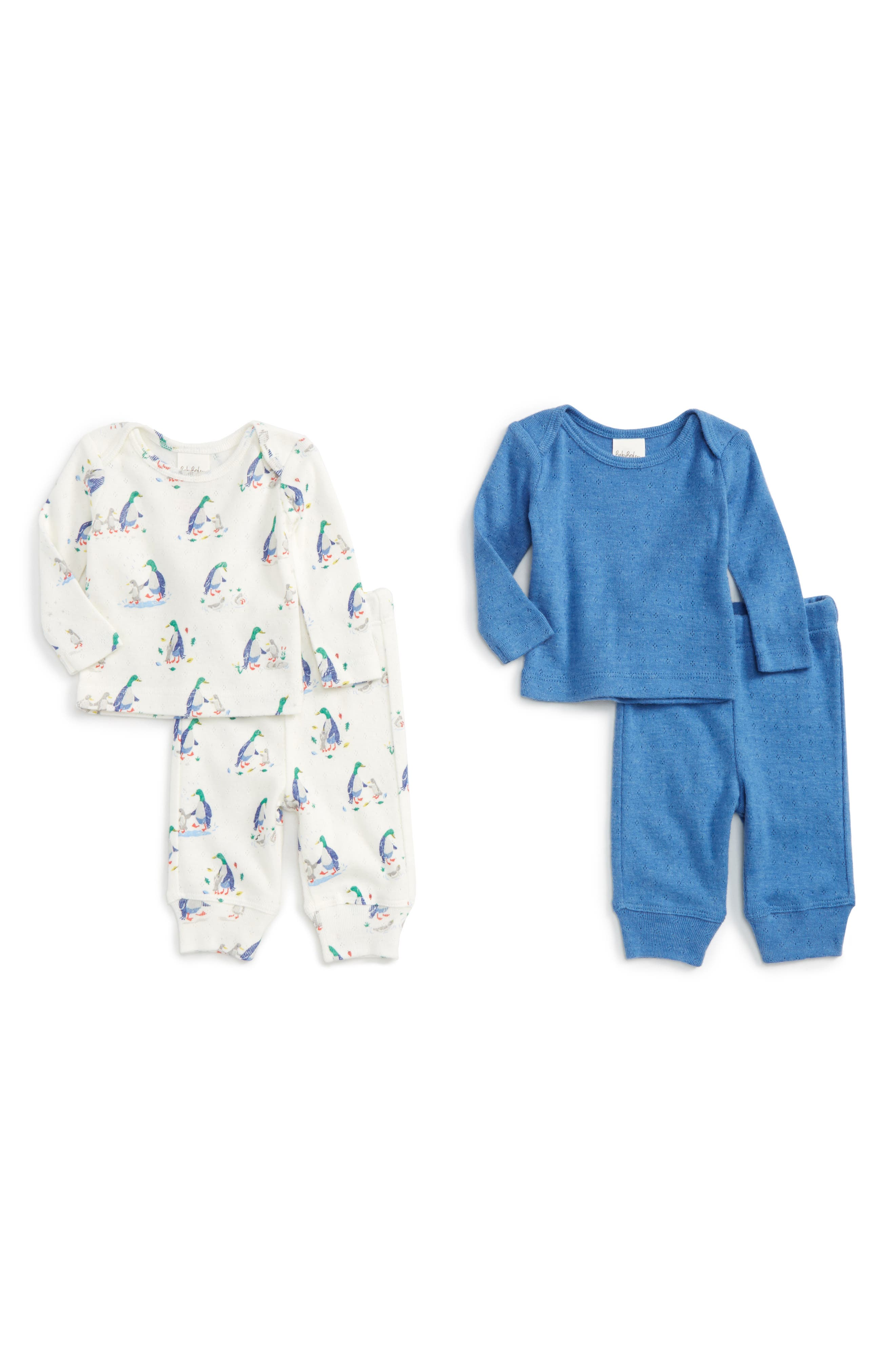 Main Image - Mini Boden Supersoft Pointelle 2-Pack T-Shirts & Pants (Baby)