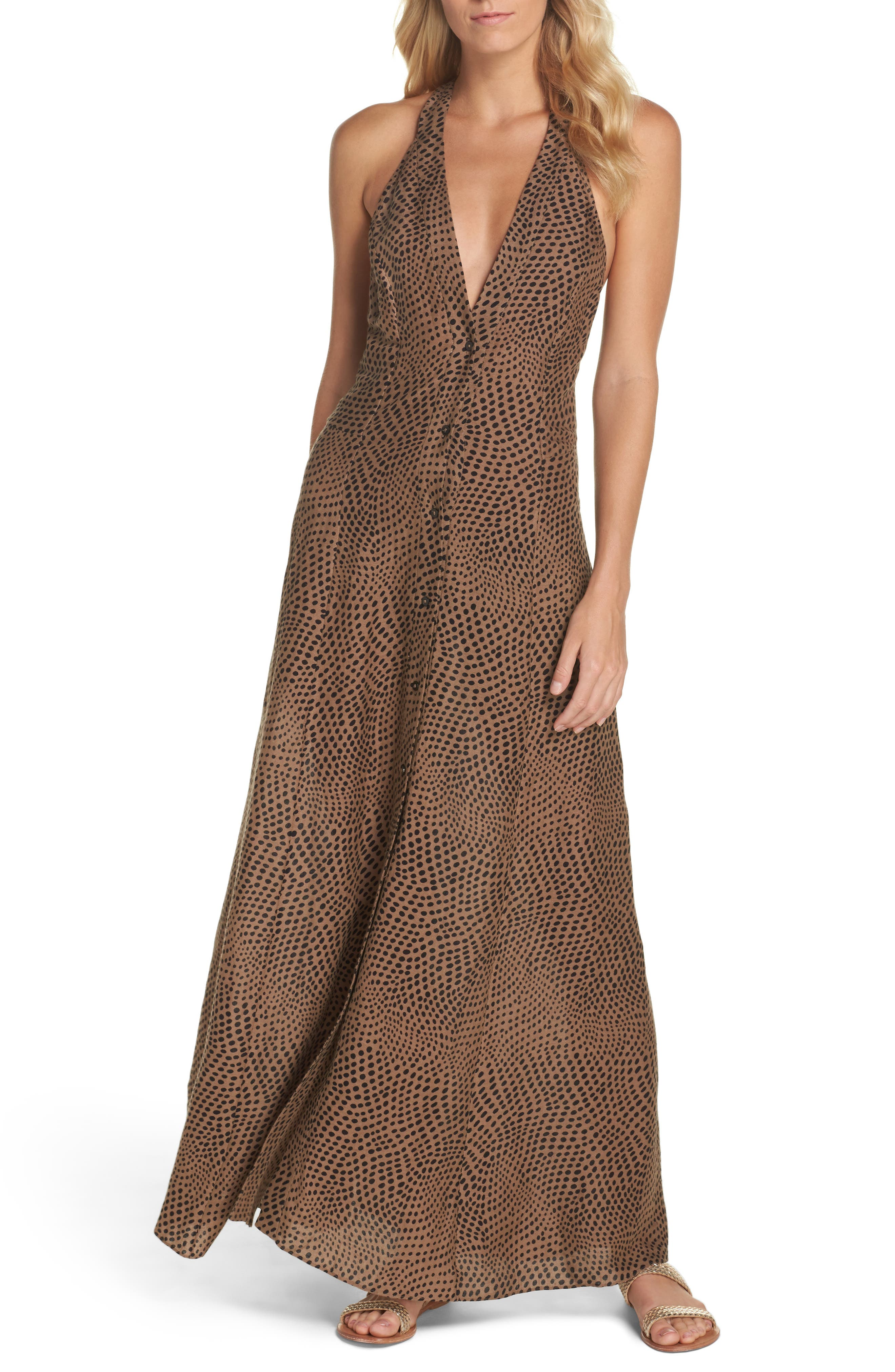 Sleeveless Cover-Up Dress,                             Main thumbnail 1, color,                             Easton Dot Clay