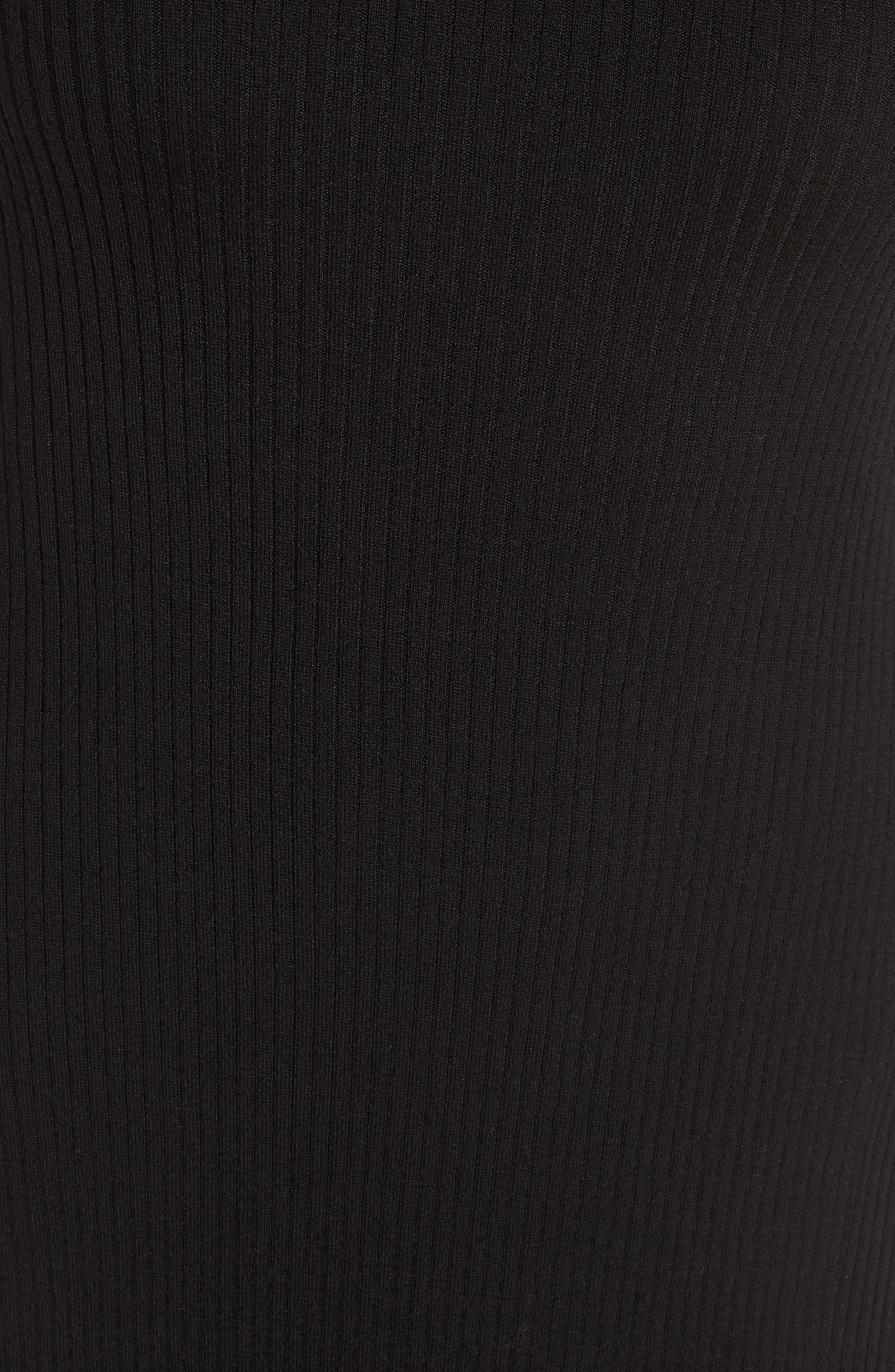 Faustine Midi Dress,                             Alternate thumbnail 5, color,                             Black