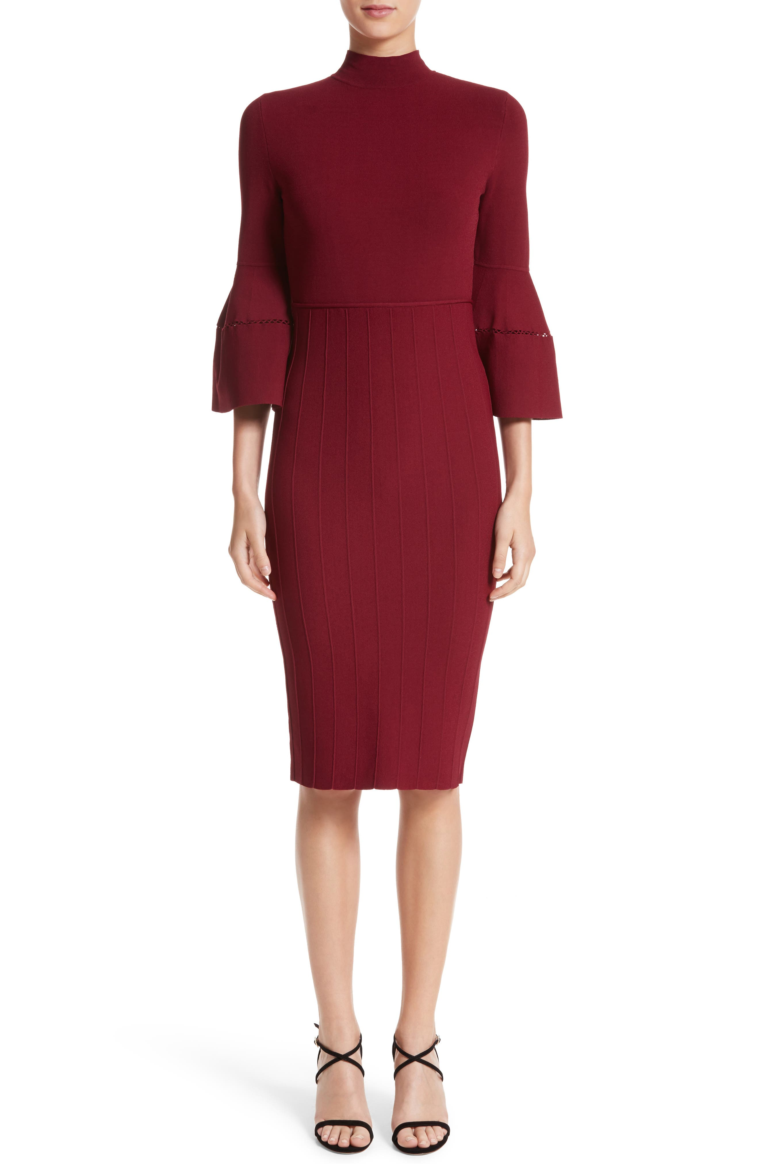 Knit Bell Sleeve Dress,                         Main,                         color, Mulberry