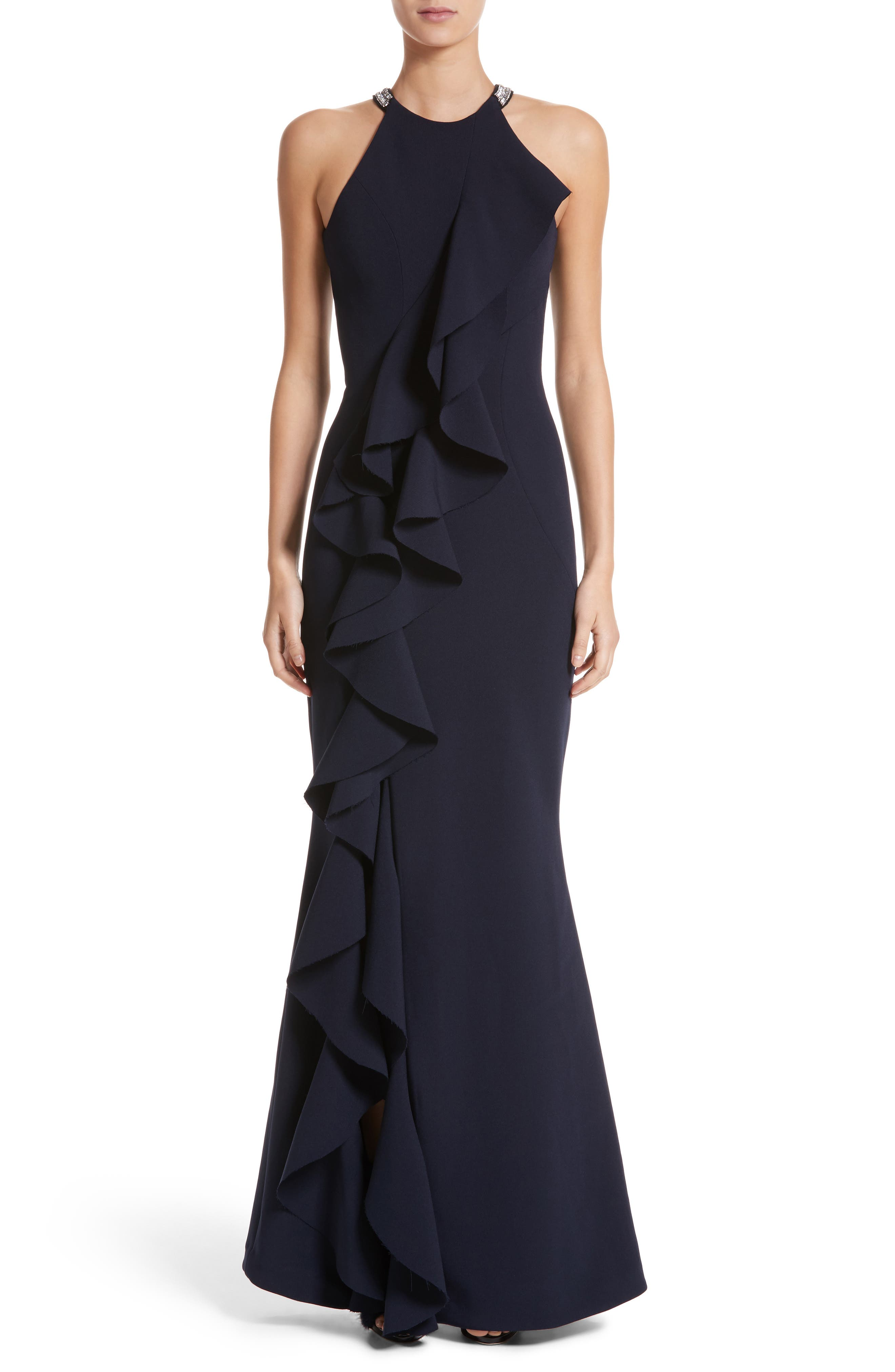 Rachel Gilbert Embellished Frill Front Crepe Gown