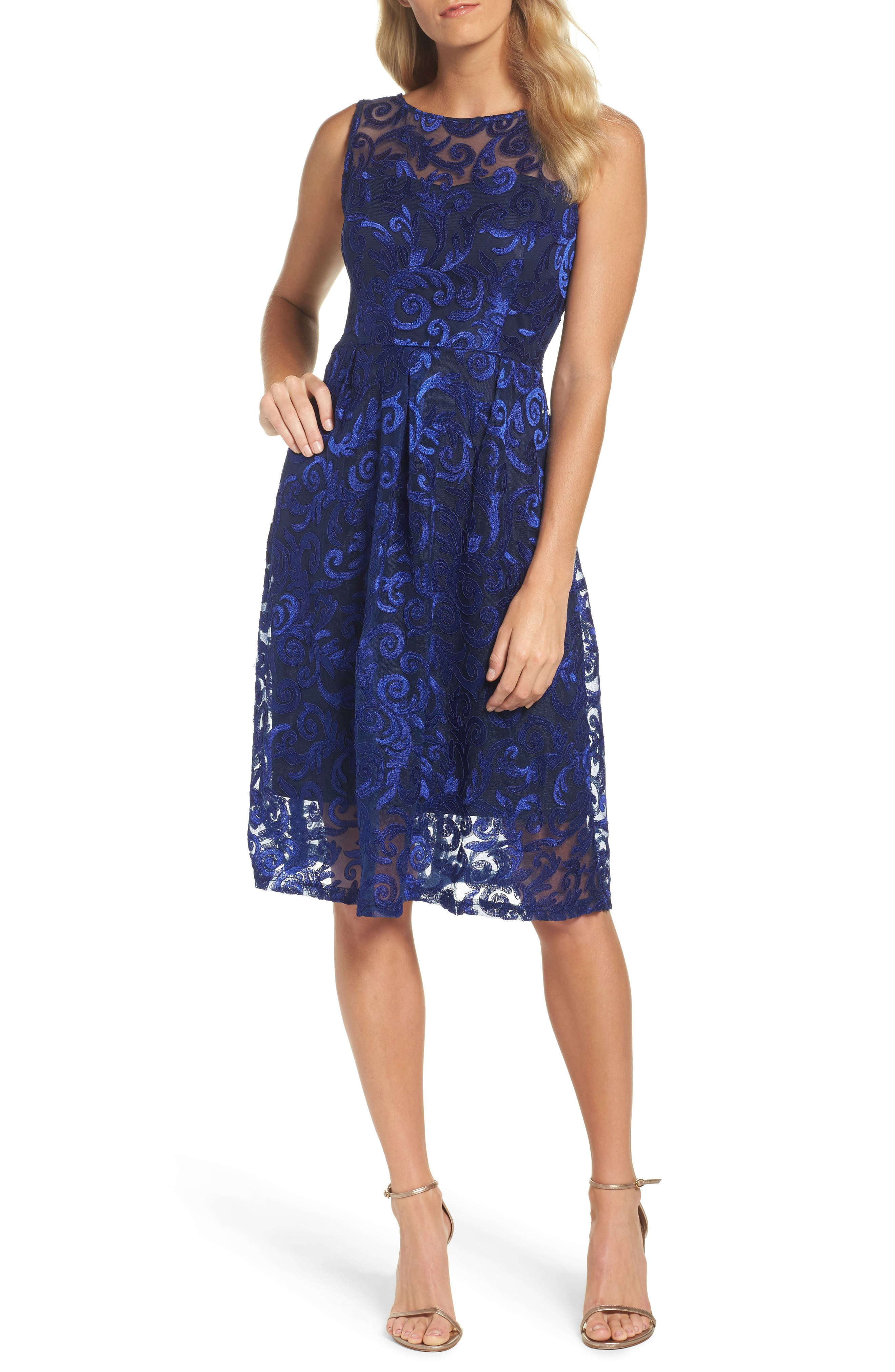 Floral Scroll Embroidered Cocktail Dress,                             Main thumbnail 1, color,                             Cobalt