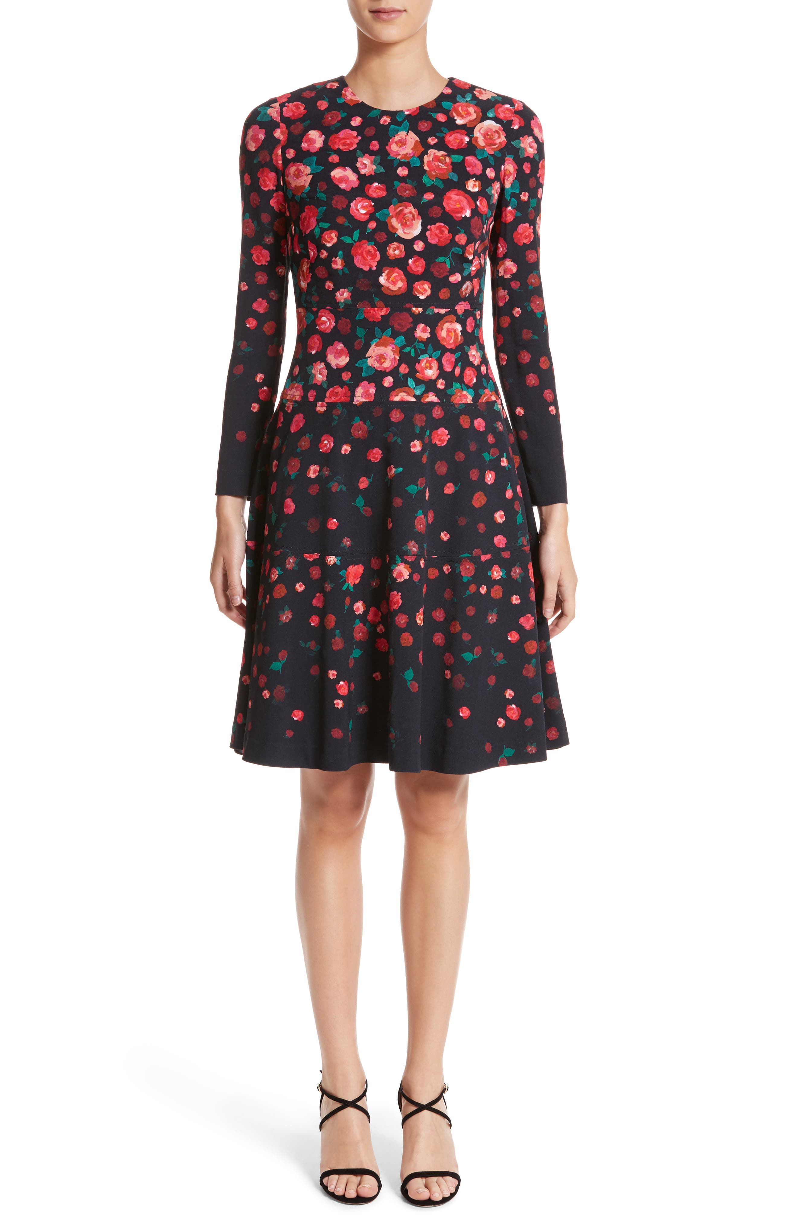 Lela Rose Floral Print Fit & Flare Dress