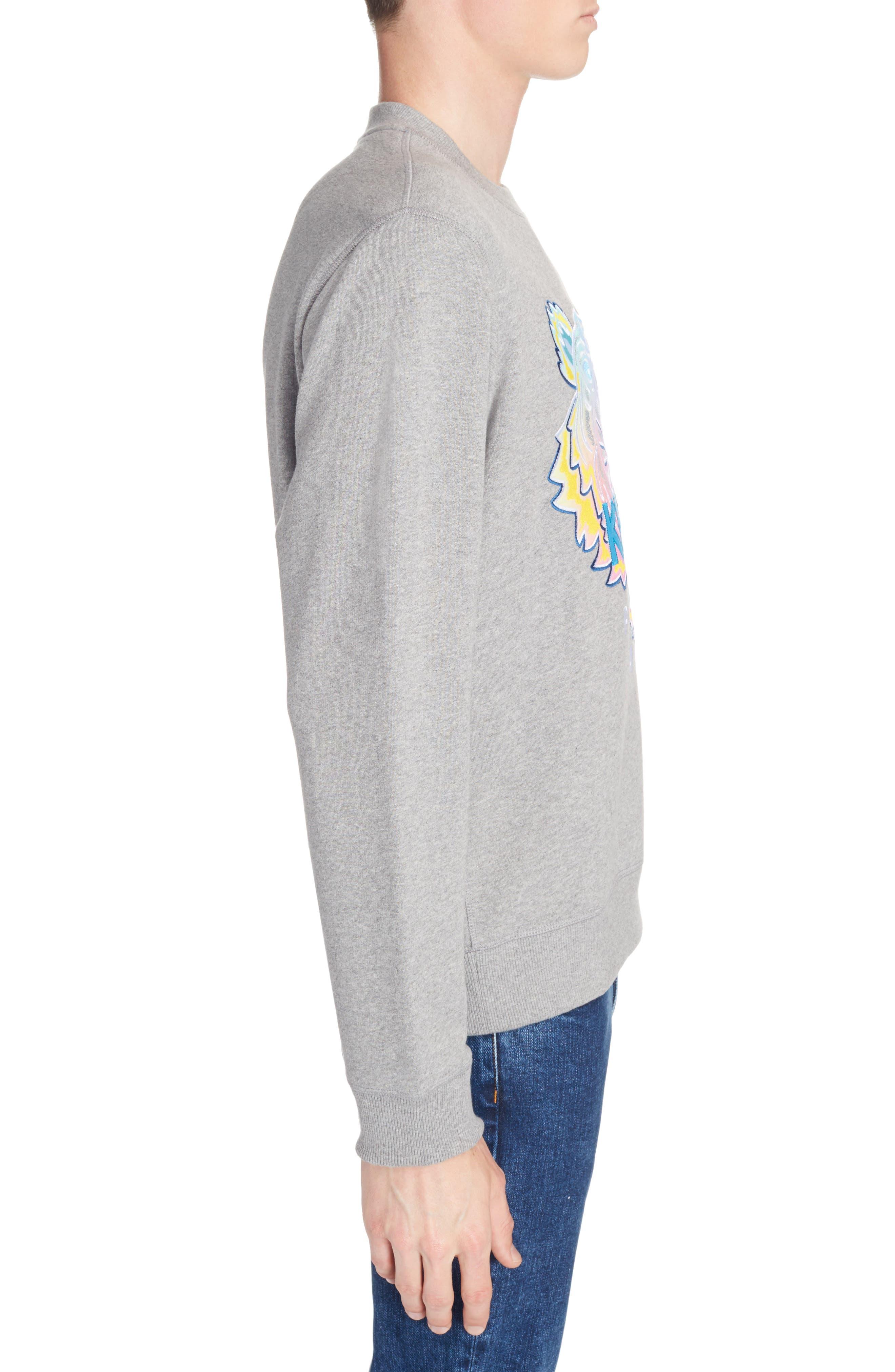 Rainbow Tiger Crewneck Sweatshirt,                             Alternate thumbnail 3, color,                             Dove Grey