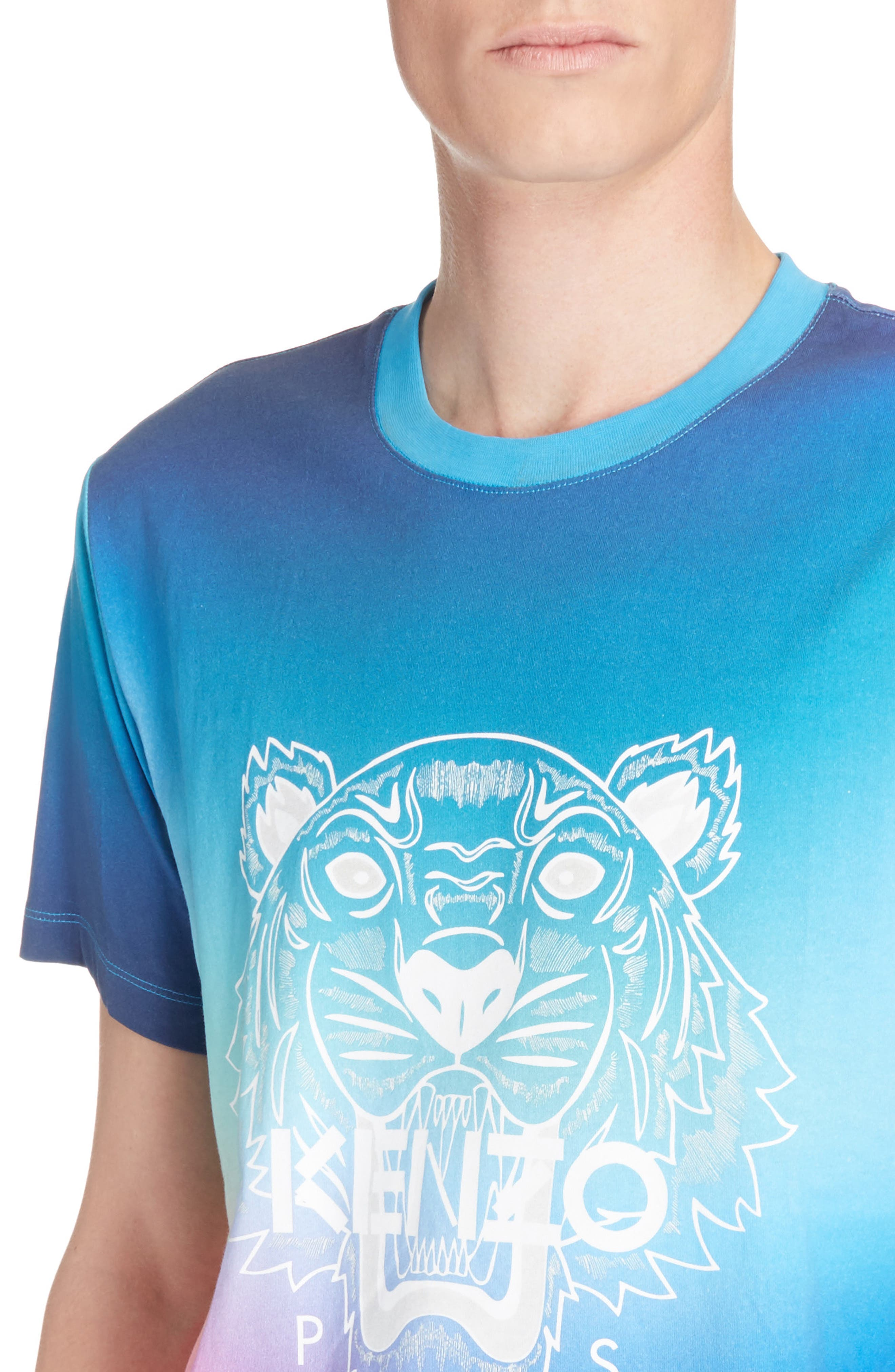 Rainbow Tiger Print T-Shirt,                             Alternate thumbnail 4, color,                             Cyan Blue