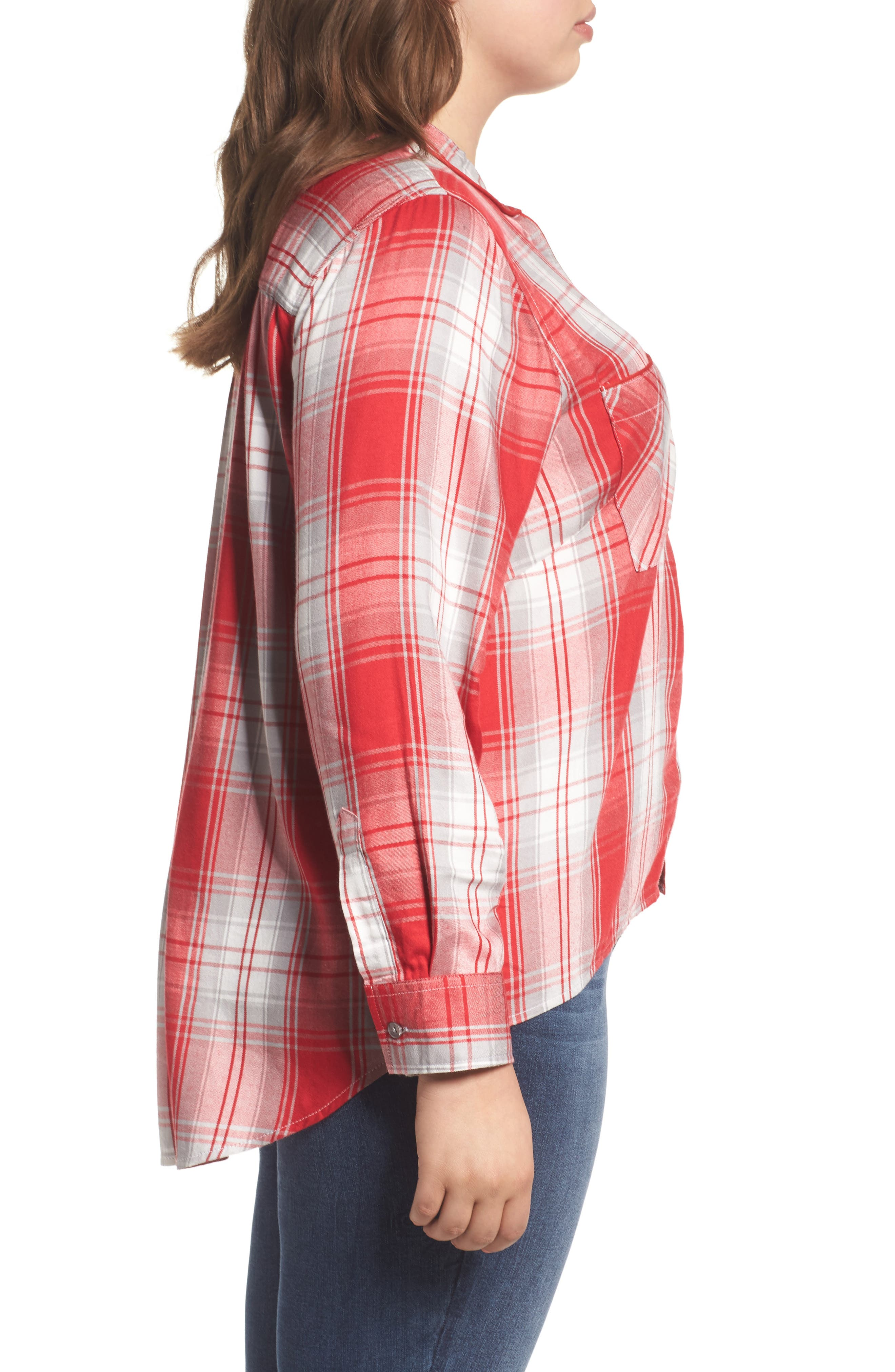 Alternate Image 3  - Melissa McCarthy Seven7 Plaid Shirt (Plus Size)