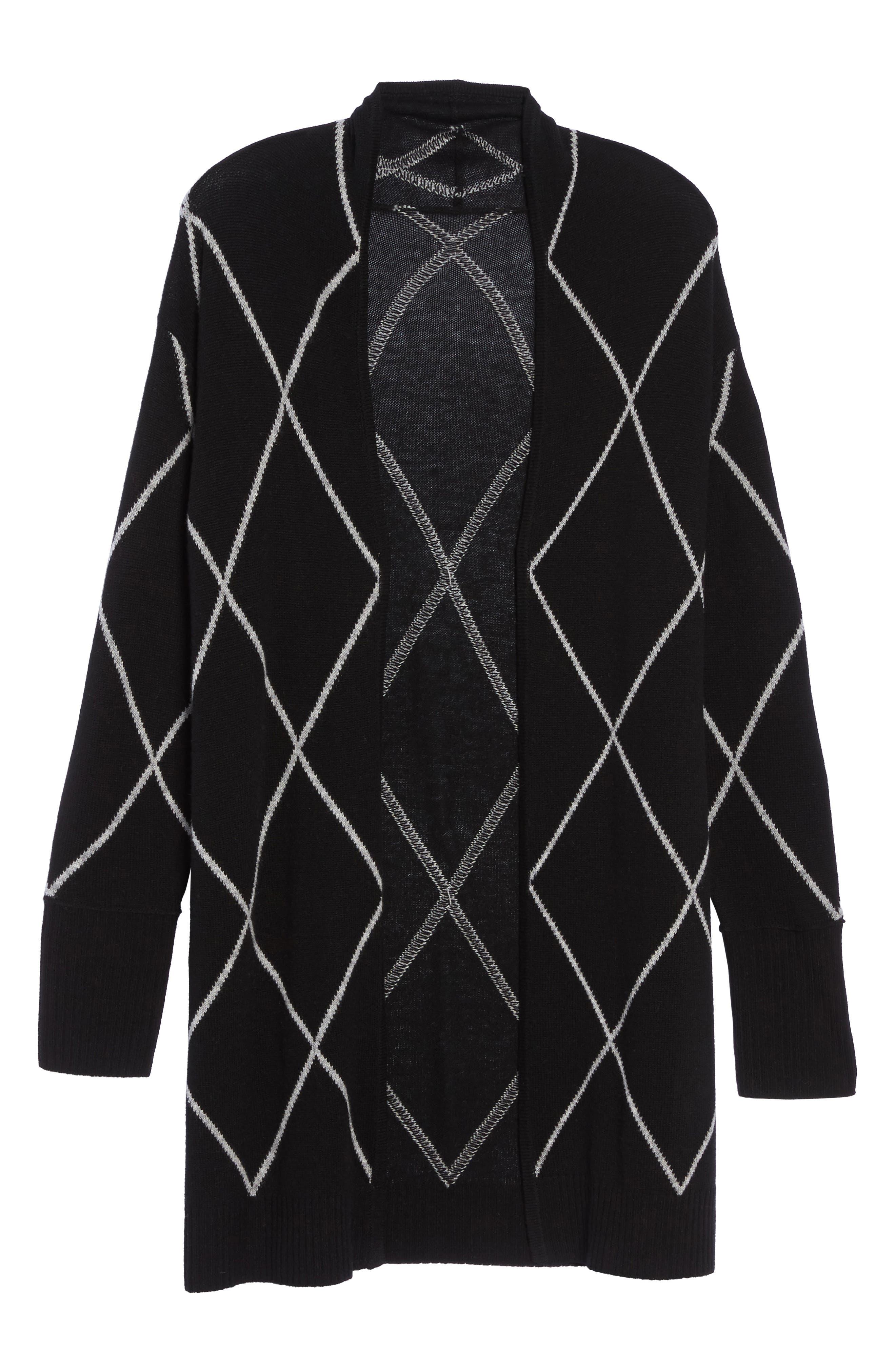 Windowpane Wool & Cashmere Cardigan,                             Alternate thumbnail 7, color,                             Black Windowpane