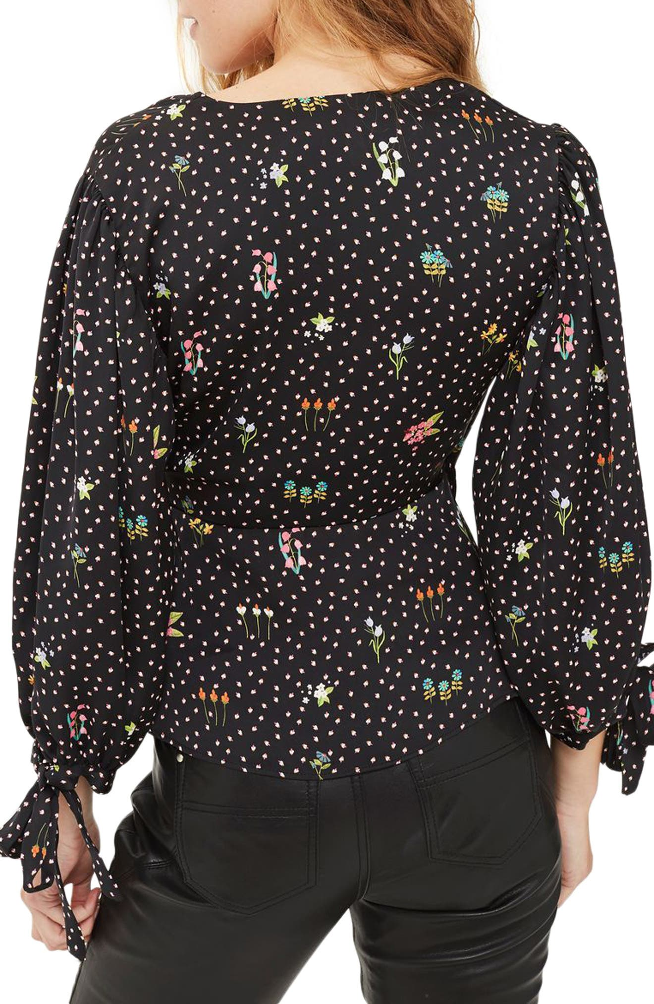 Alternate Image 2  - Topshop Floral Balloon Sleeve Wrap Blouse
