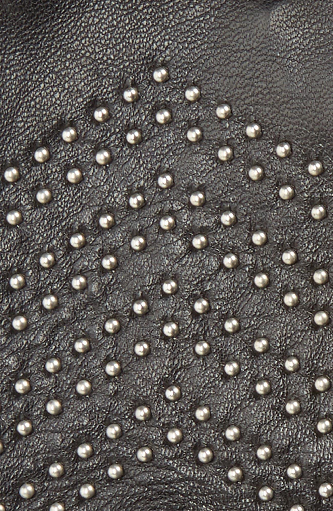 Swinley Fingerless Lambskin Leather Gloves,                             Alternate thumbnail 2, color,                             Black