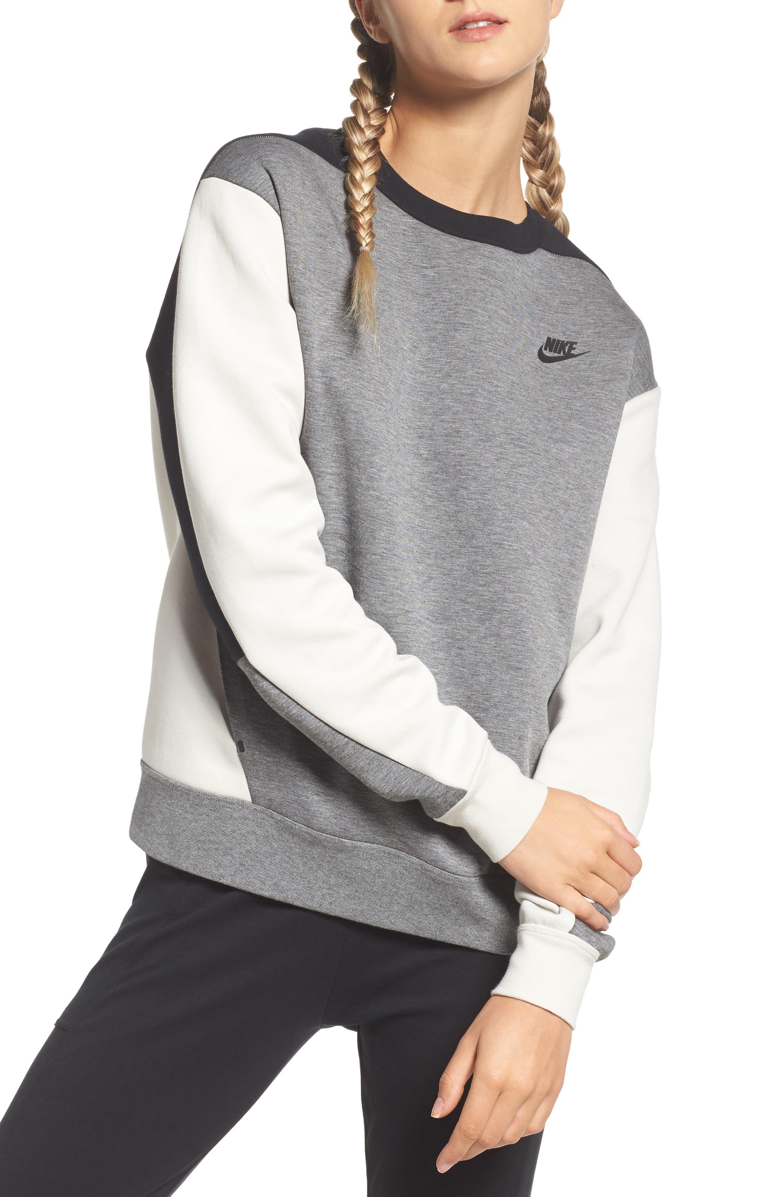 Colorblock Fleece Top,                         Main,                         color, Carbon Heather/ Bone/ Black
