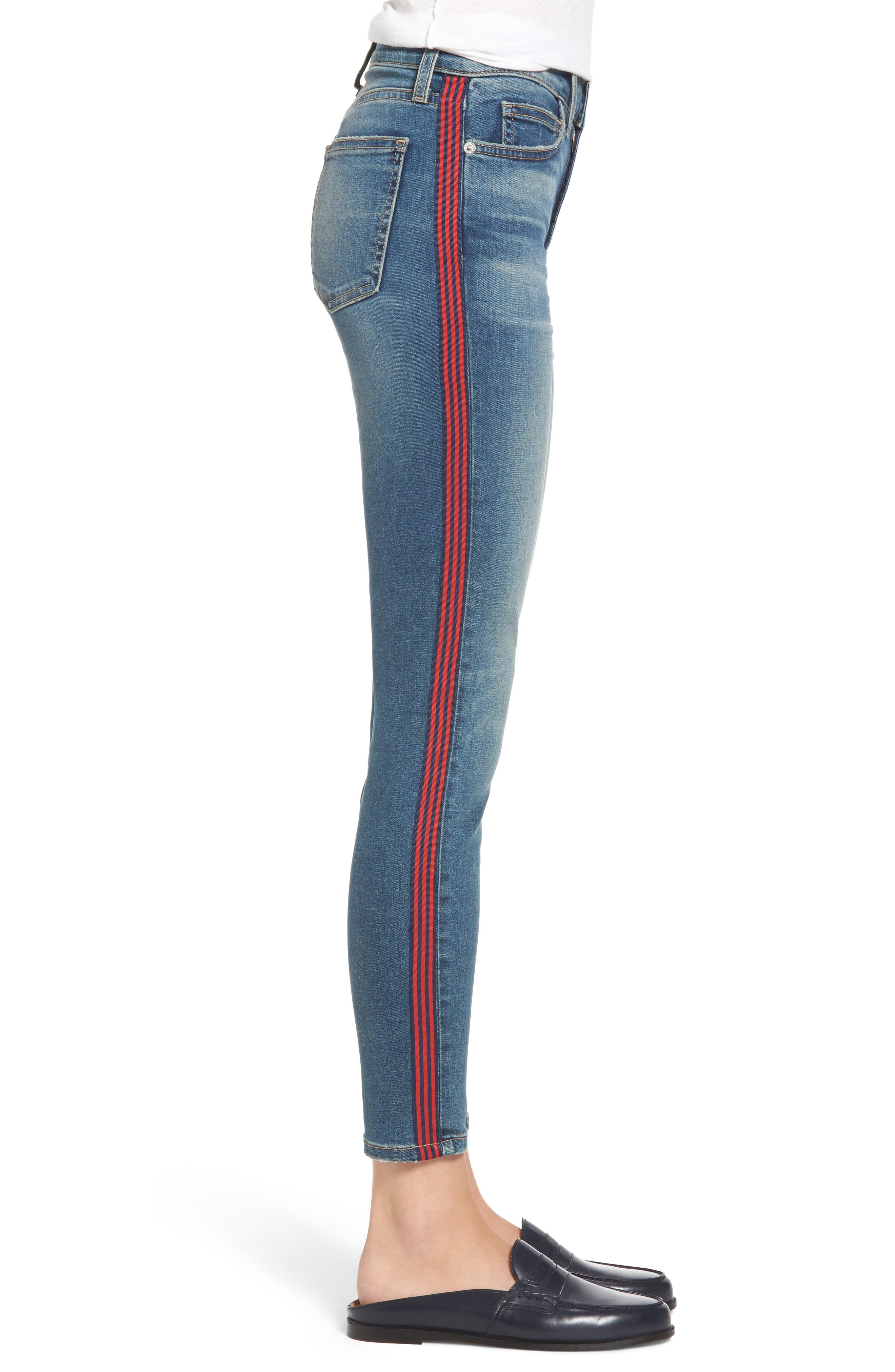 Alternate Image 3  - Current/Elliott The High Waist Stiletto Ankle Skinny Jeans (Powell/Applied Stripe)