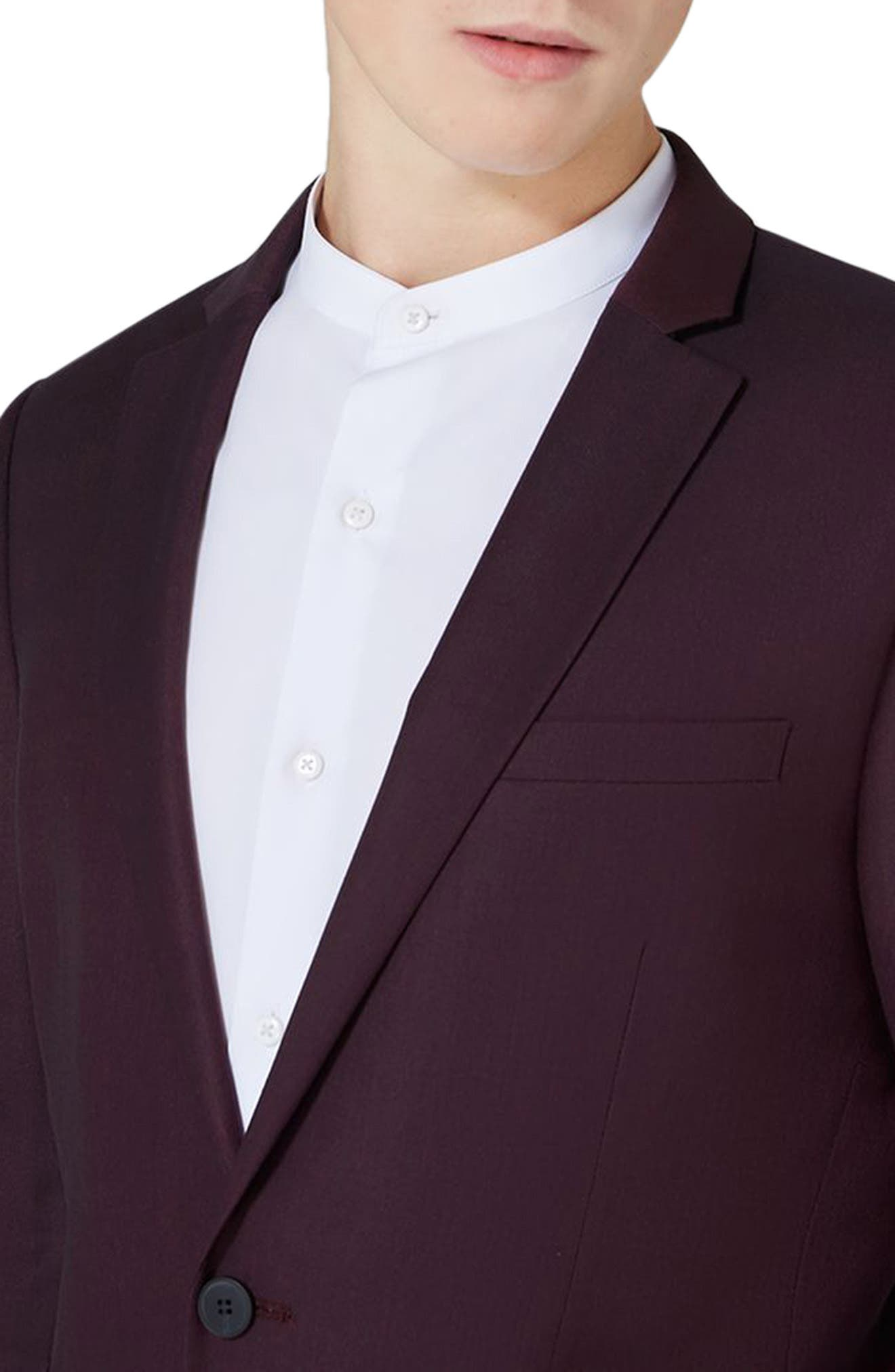 Skinny Fit Plum One-Button Suit Jacket,                             Alternate thumbnail 4, color,                             Plum