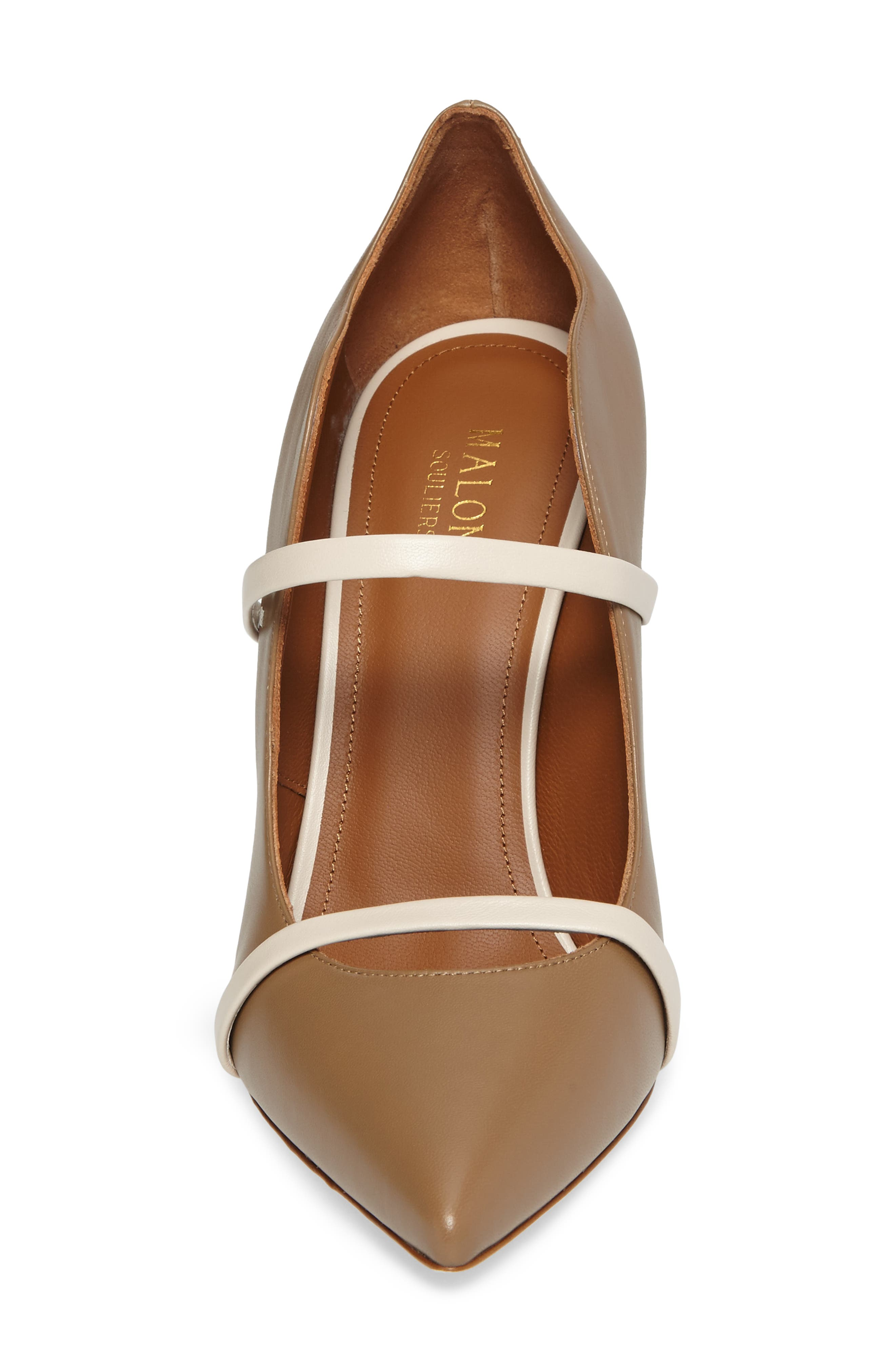 Maureen Double Band Pump,                             Alternate thumbnail 4, color,                             Chocolate/ White Leather