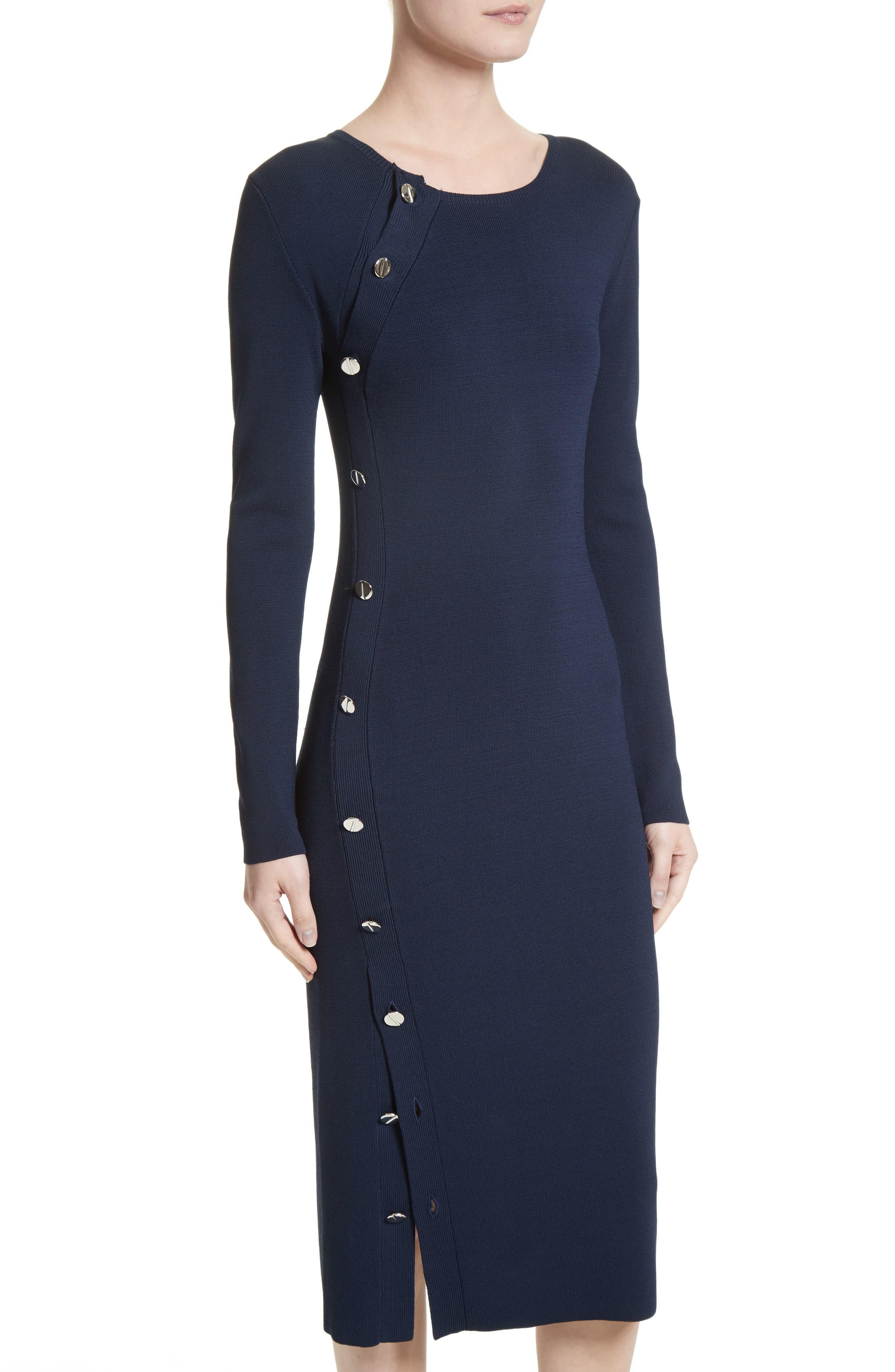 Button Detail Knit Dress,                             Alternate thumbnail 4, color,                             Navy