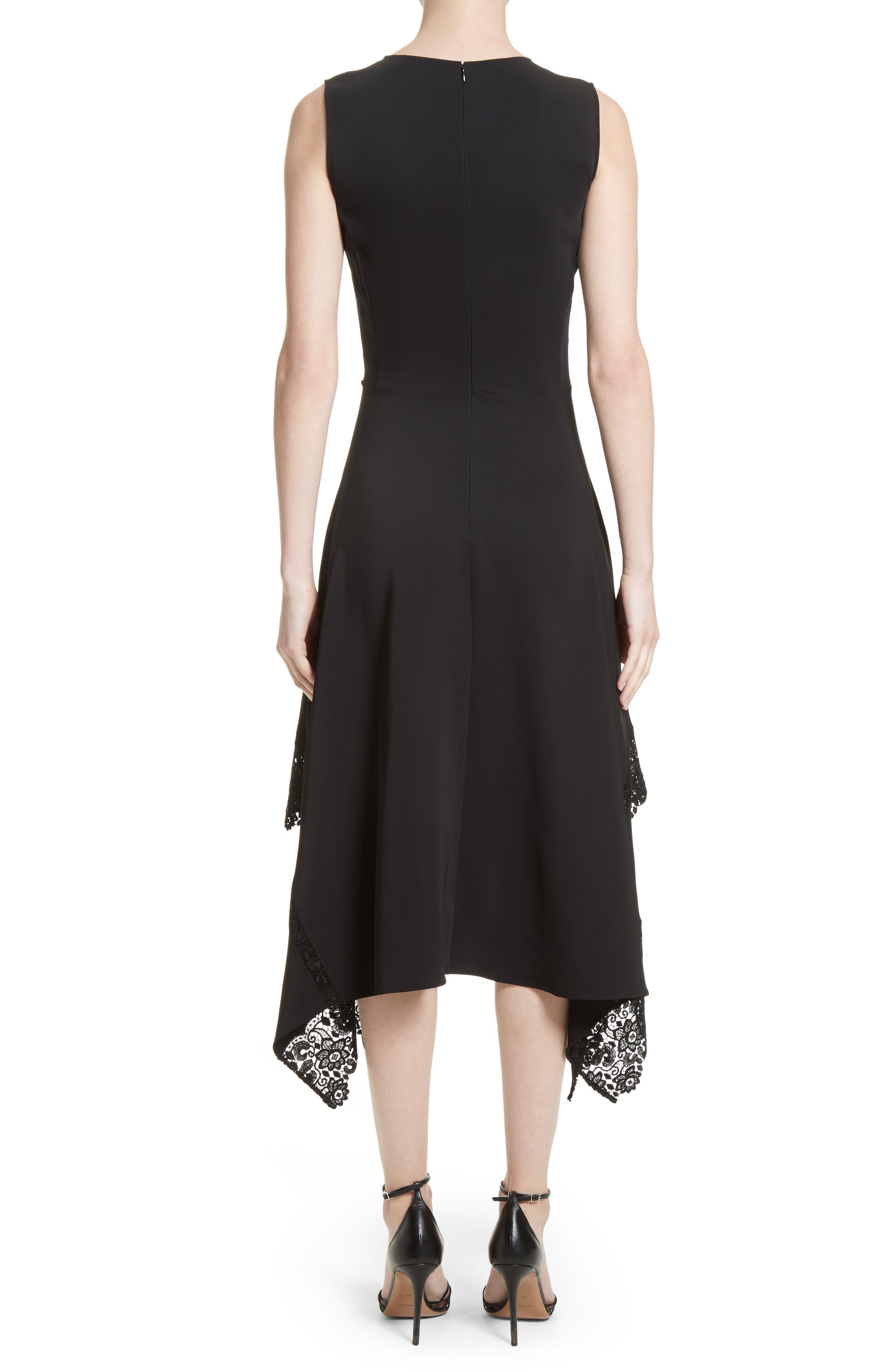 Lace Hem Midi Dress,                             Alternate thumbnail 2, color,                             Black