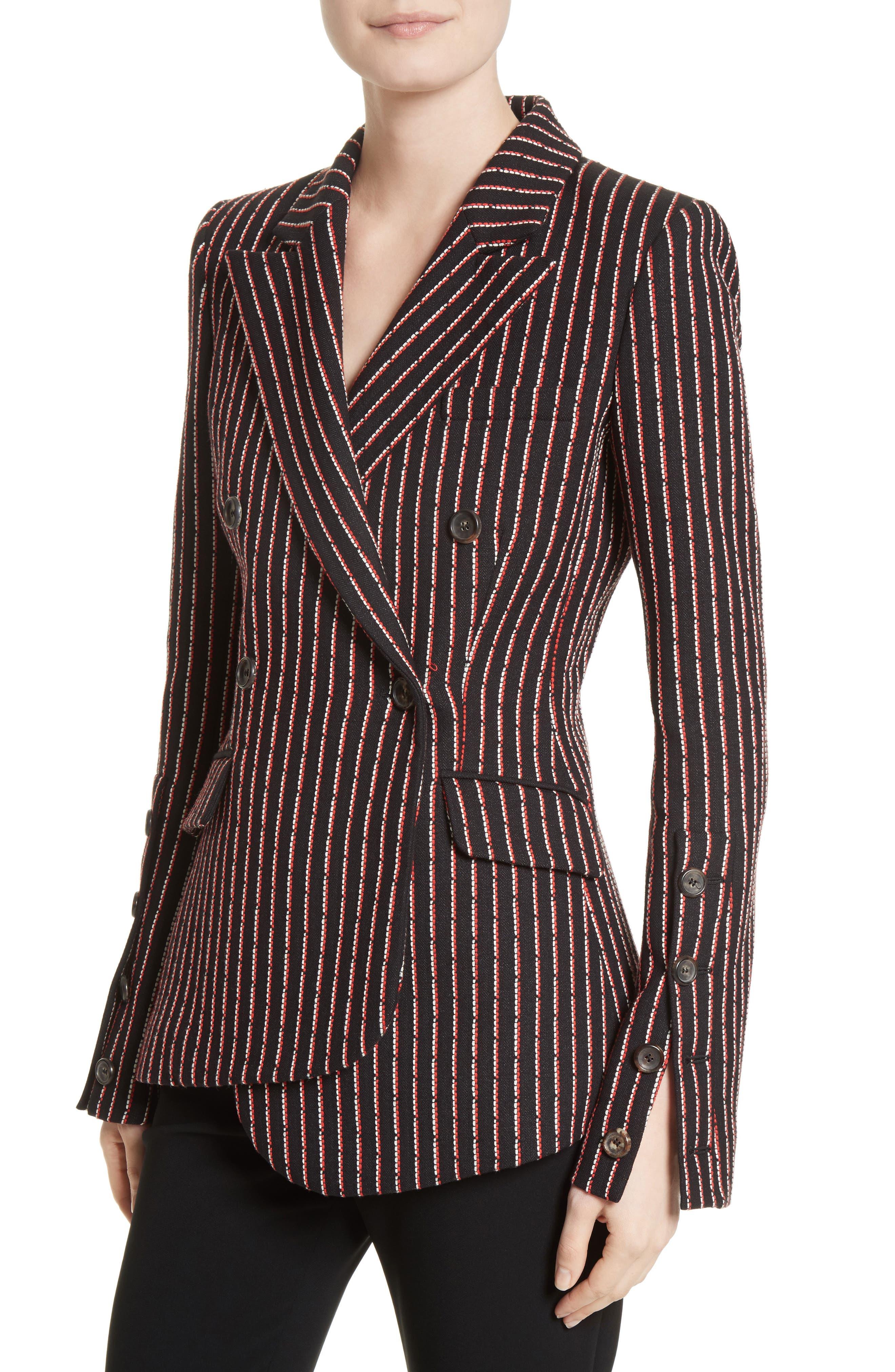 Pinstripe Double Breasted Blazer,                             Alternate thumbnail 4, color,                             Black White Persimmon