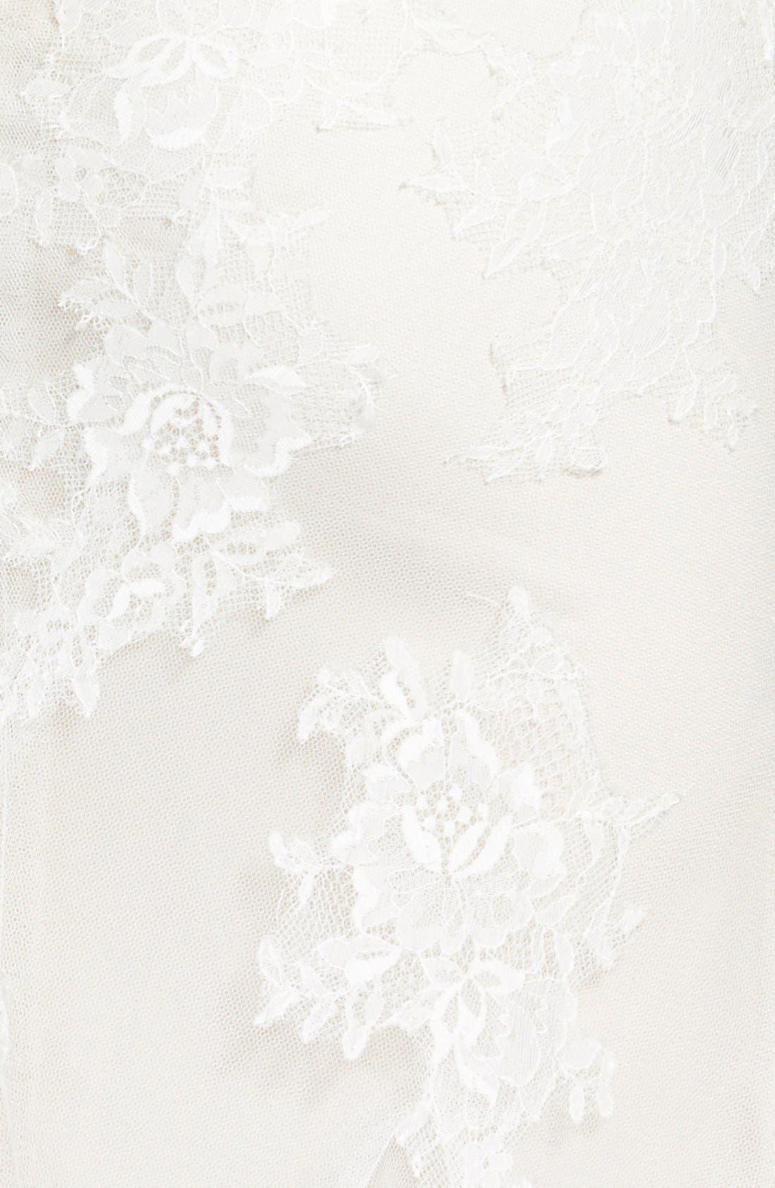 Chantilly Lace & Tulle Gown,                             Alternate thumbnail 2, color,                             Silk White/ Latte
