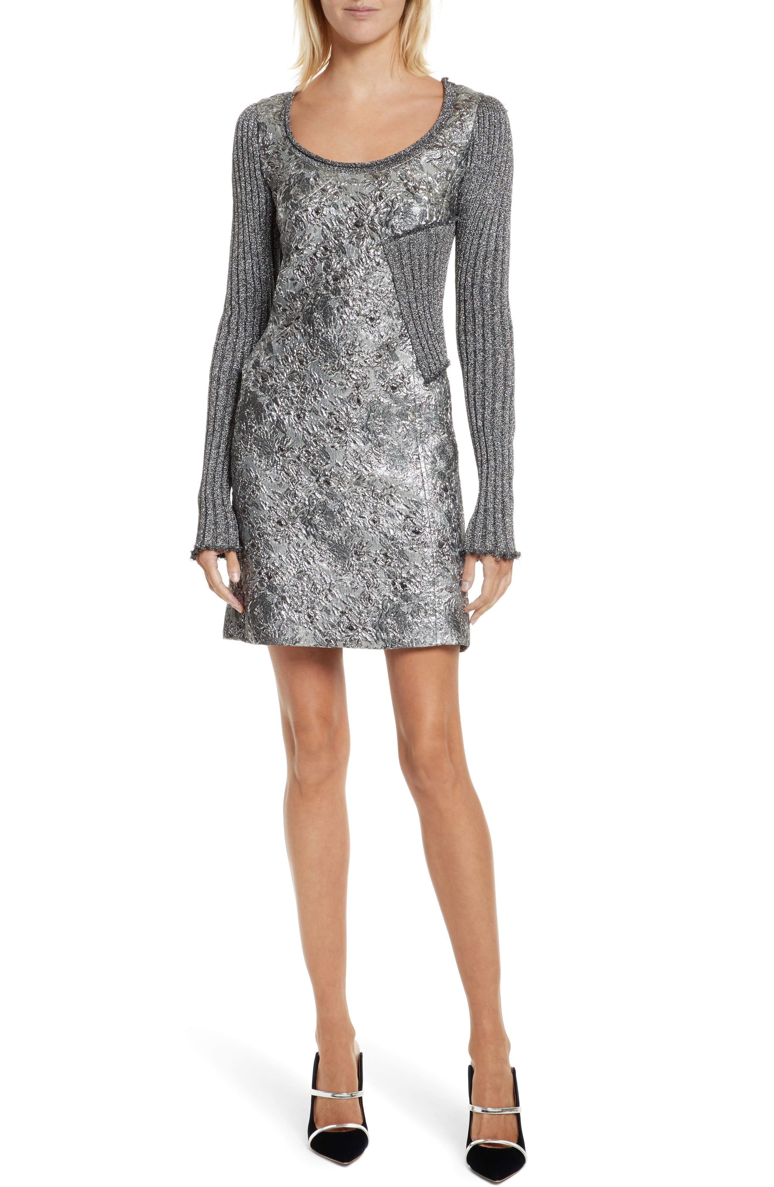 Mixed Media Metallic Sweater Dress,                         Main,                         color, Pewter