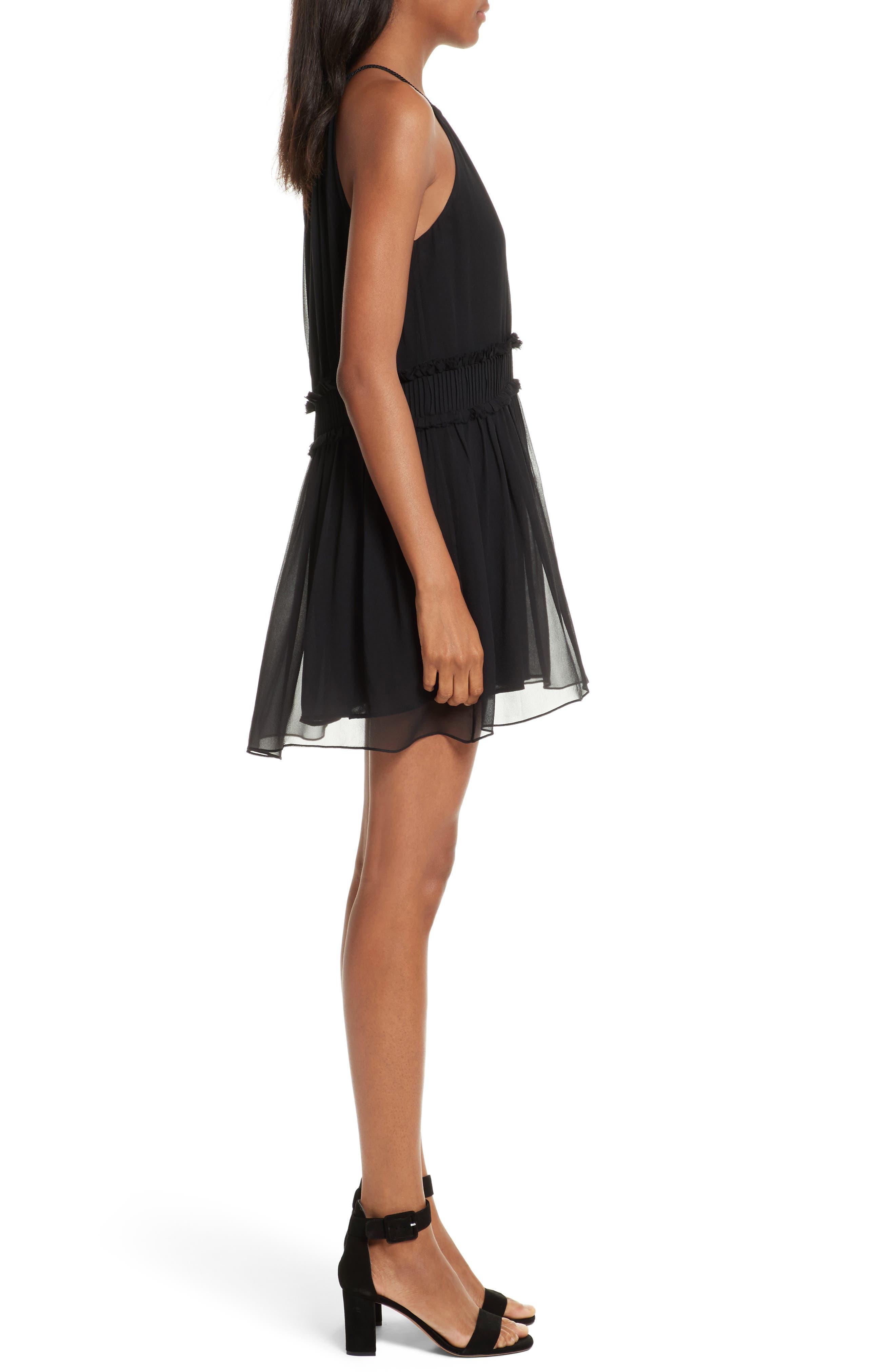 Althia Silk Dress,                             Alternate thumbnail 3, color,                             Caviar