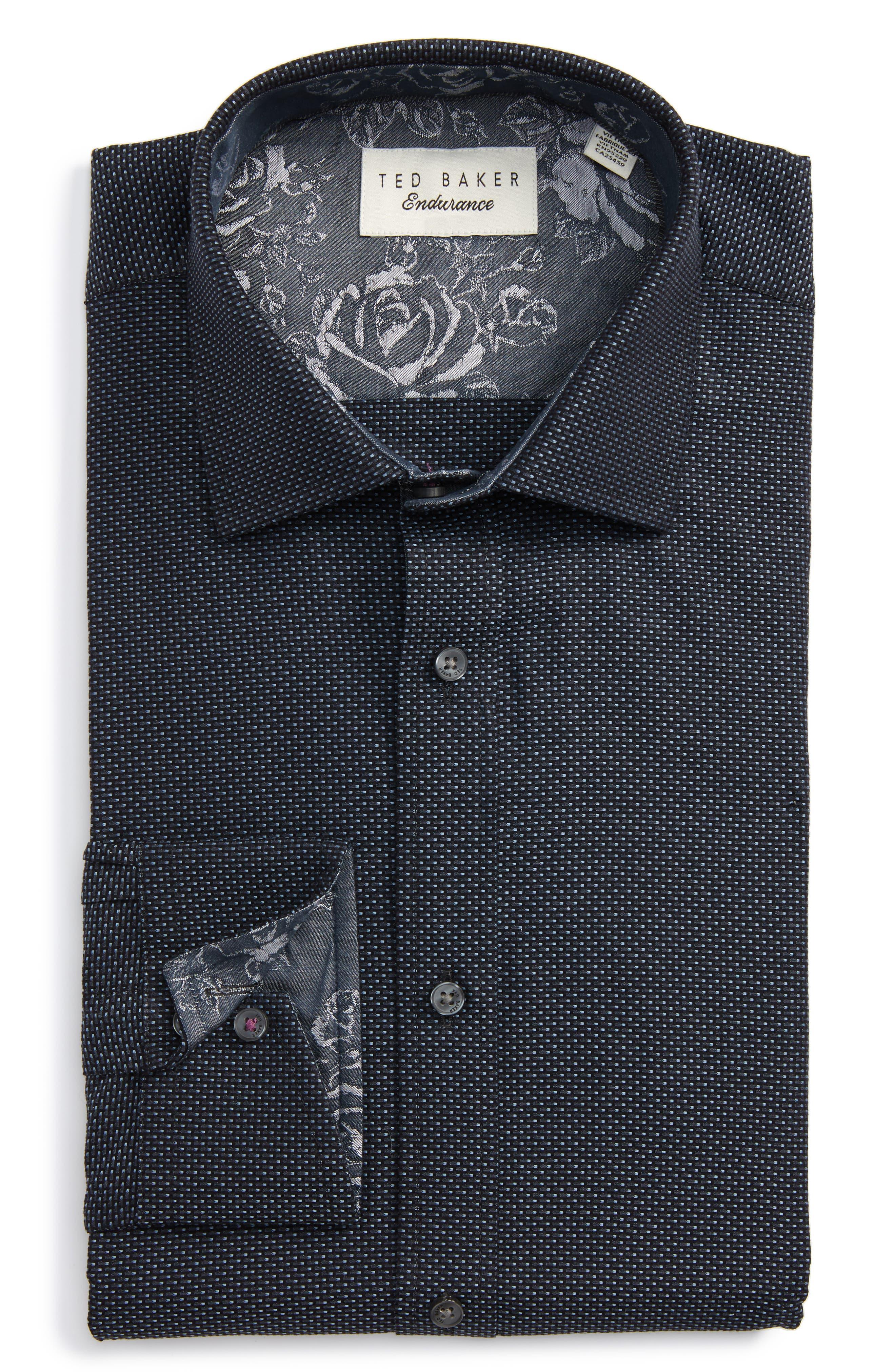 Endurance Trim Fit Dot Dress Shirt,                             Main thumbnail 1, color,                             Black