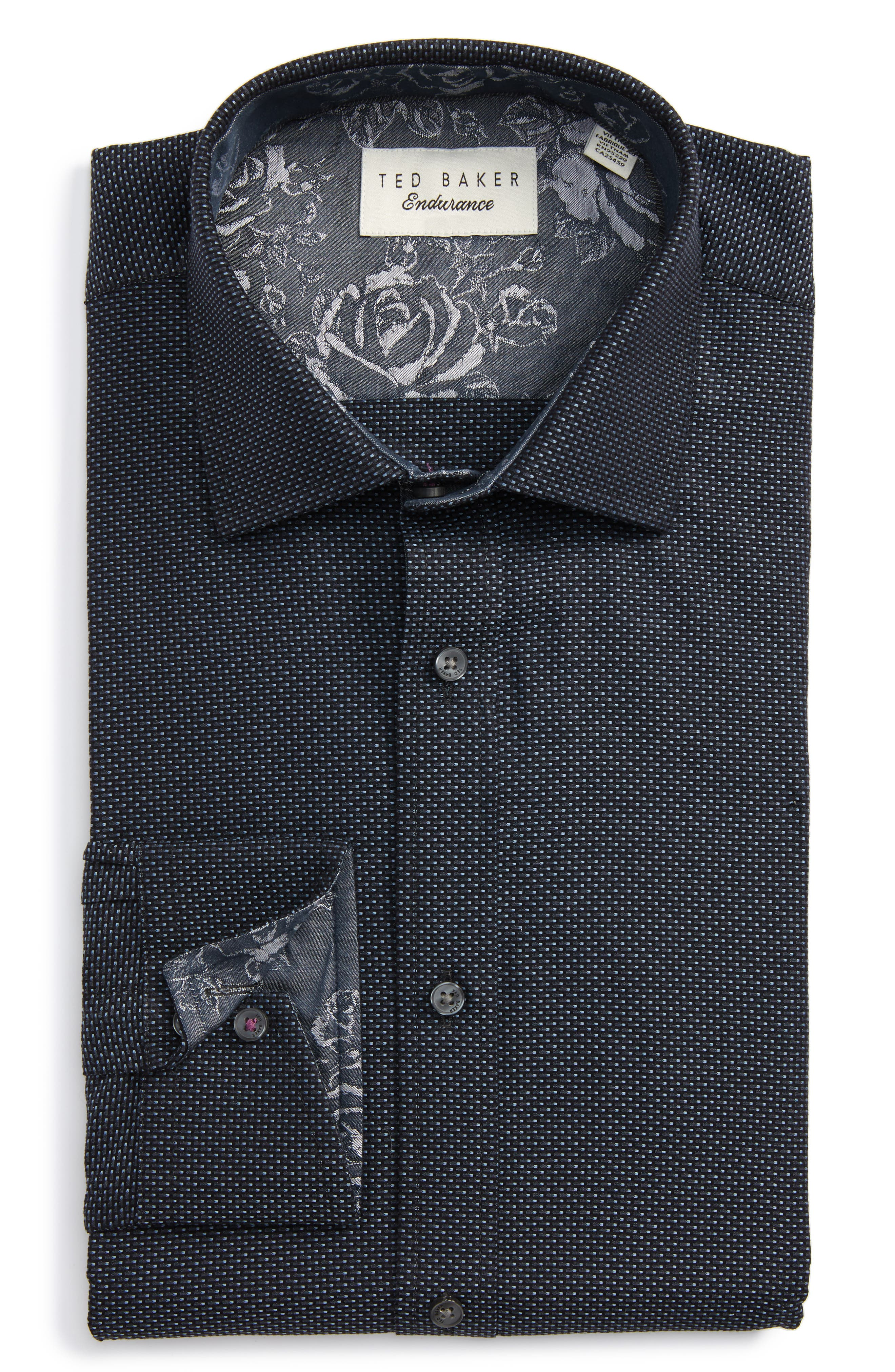 Ted Baker London Endurance Trim Fit Dot Dress Shirt