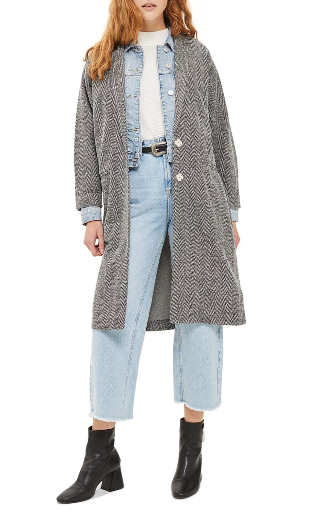 Alternate Image 1 Selected - Topshop Herringbone Jersey Coat