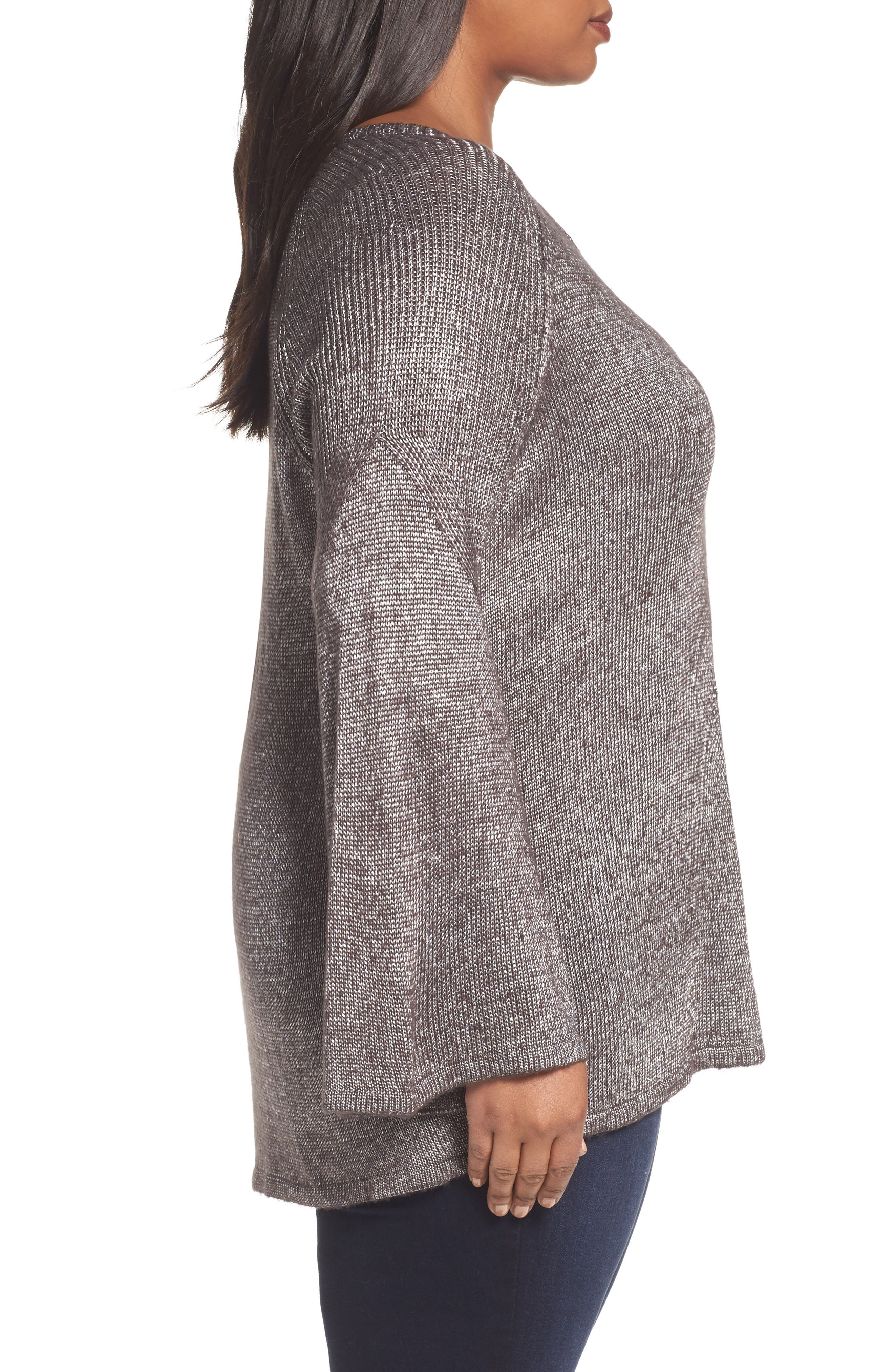 Bell Sleeve Sweater,                             Alternate thumbnail 3, color,                             Black- Silver Metallic