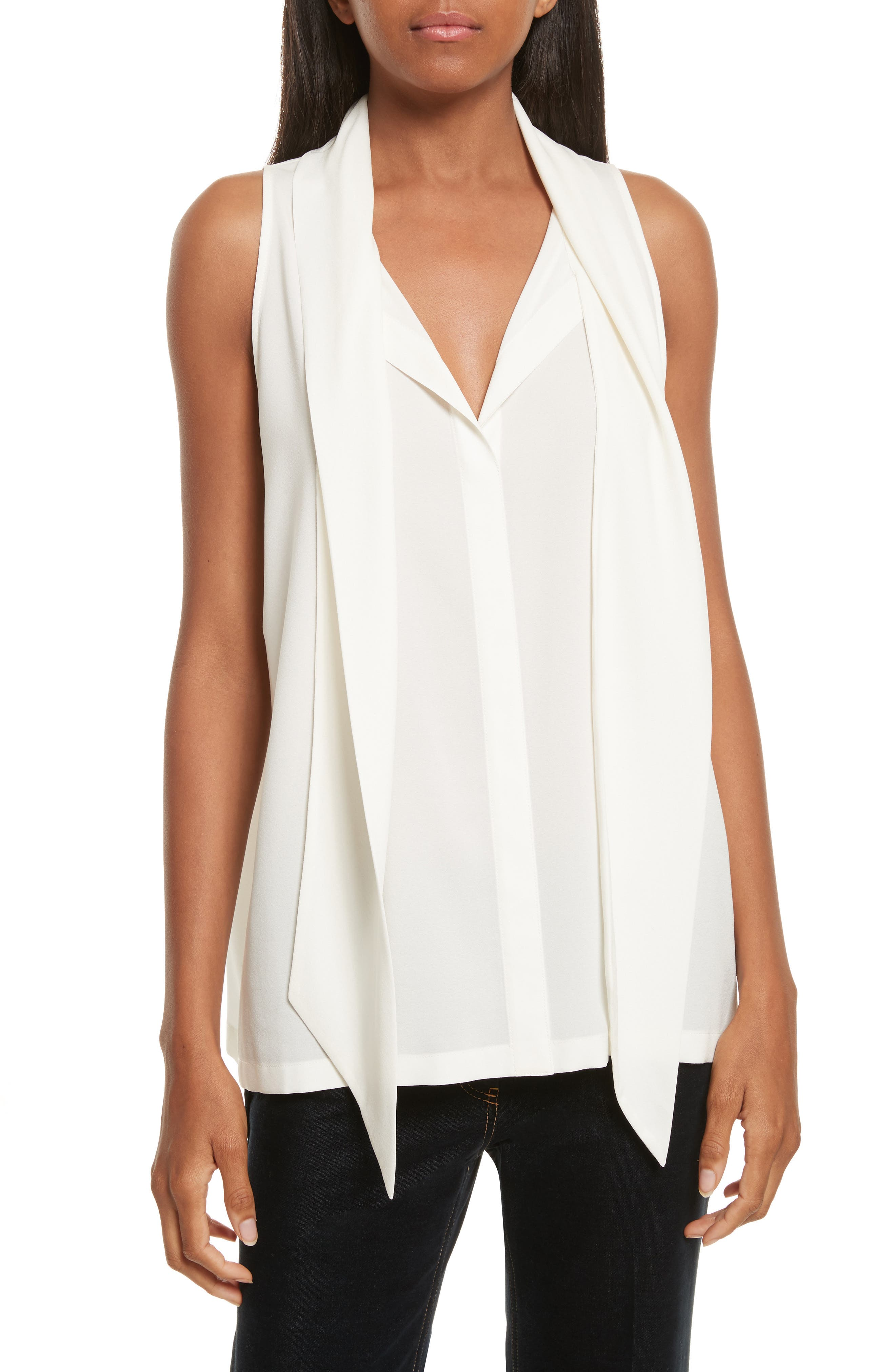 Scarf Neck Stretch Silk Blouse,                         Main,                         color, Ivory
