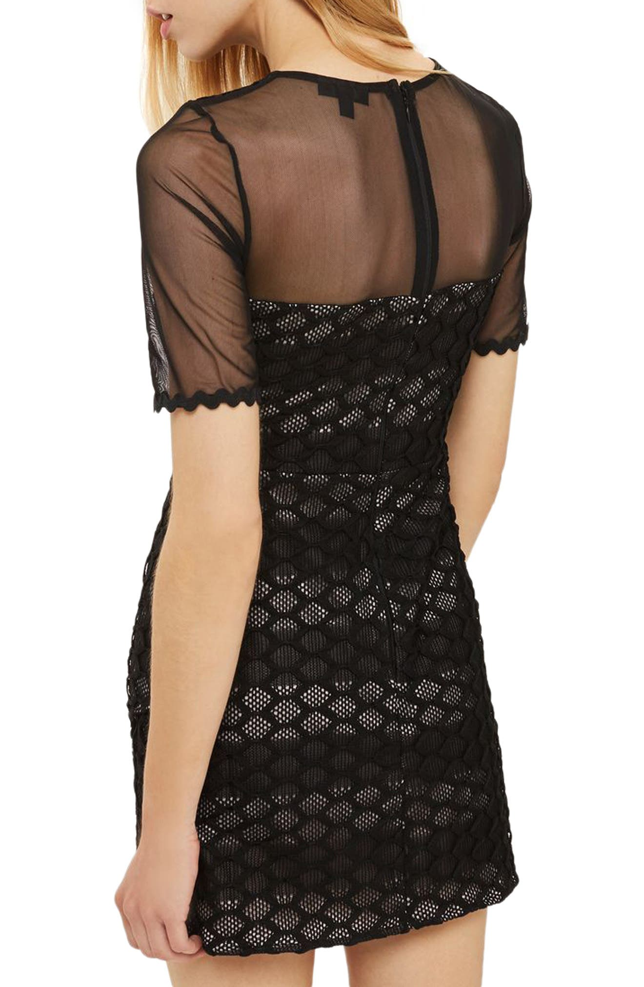 Honeycomb Airtex Wrap A-Line Dress,                             Alternate thumbnail 2, color,                             Black
