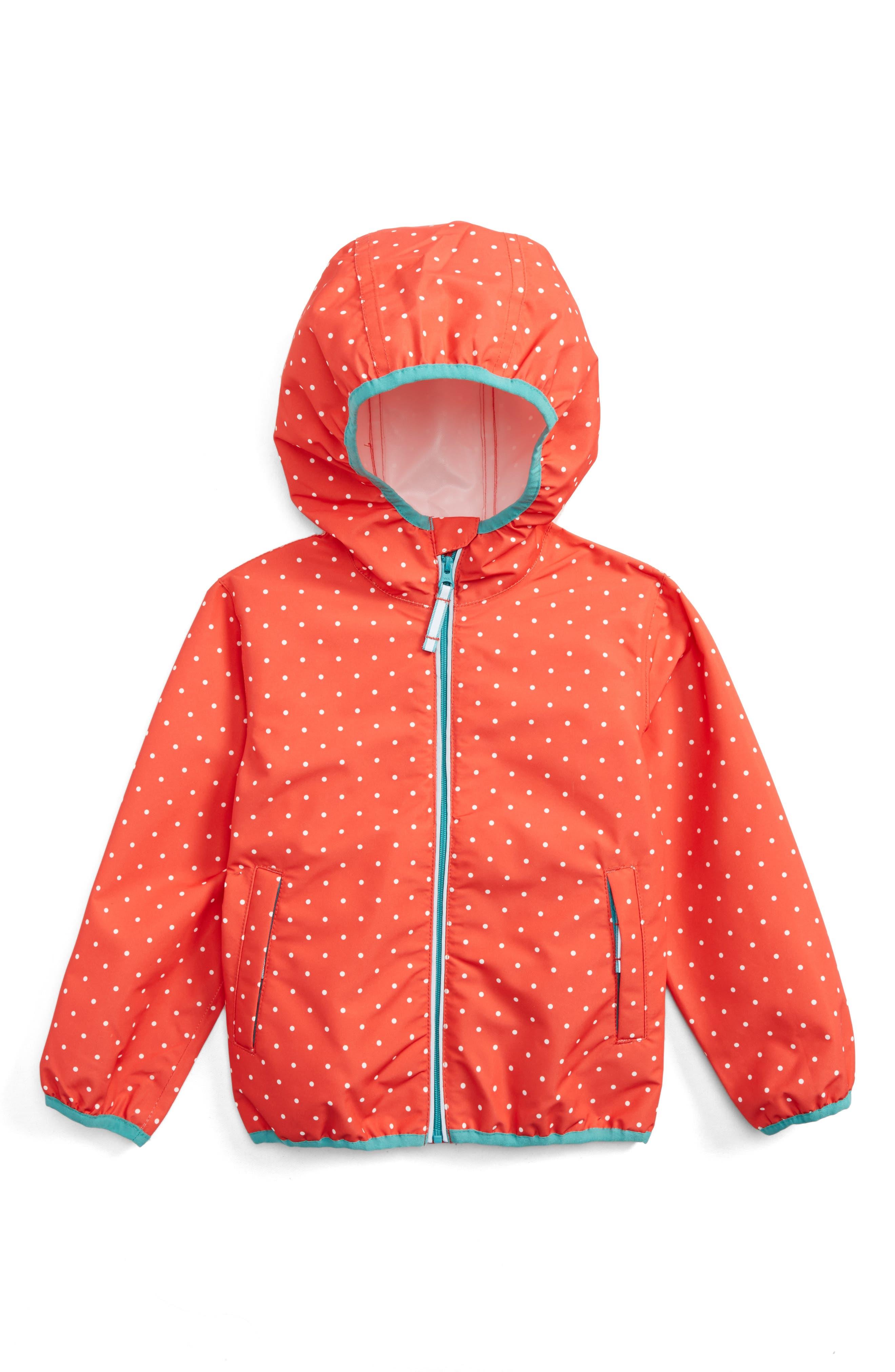Packaway Waterproof Jacket,                         Main,                         color, Red Jam Pin Spot