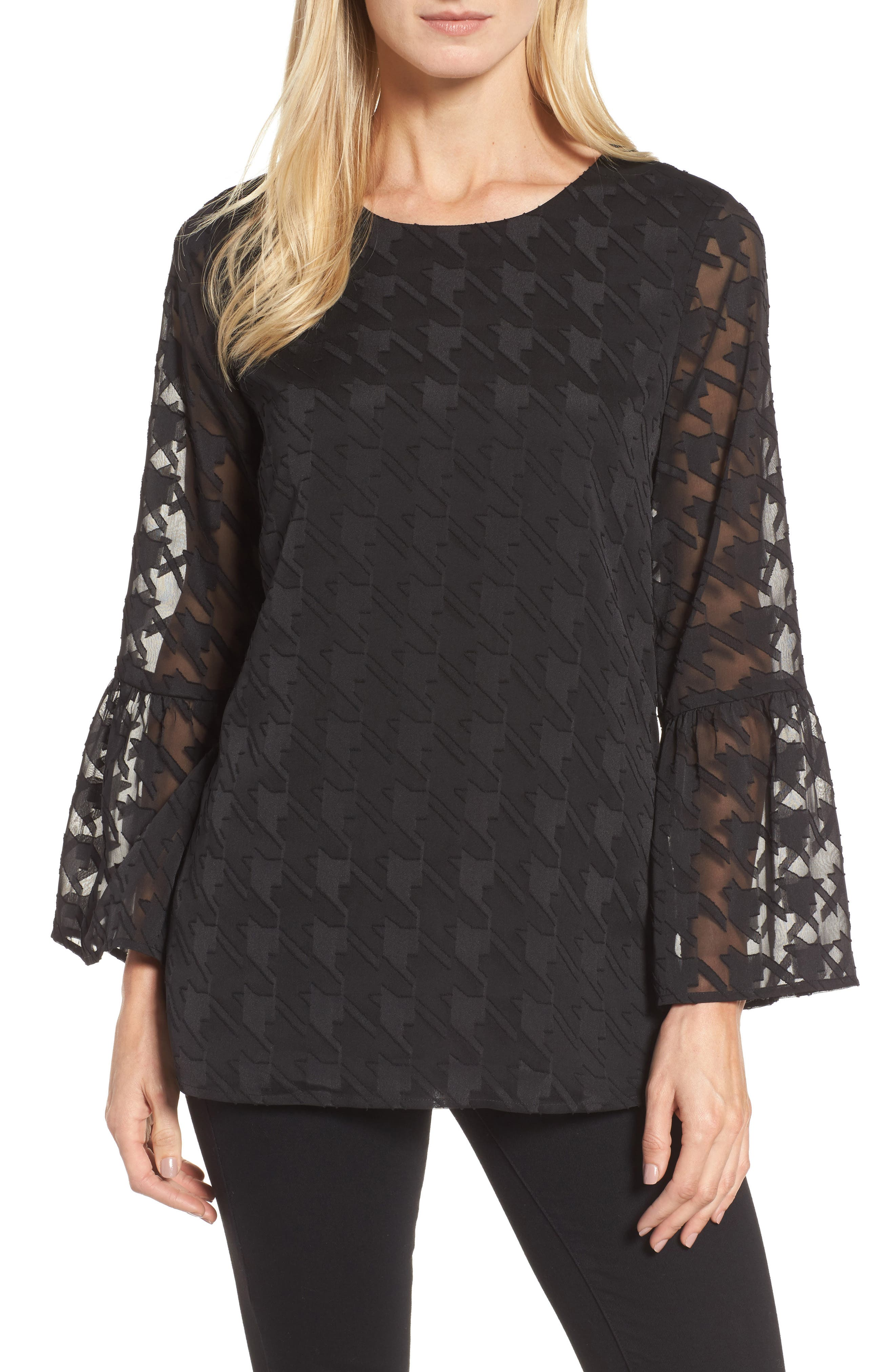 Bell Sleeve Houndstooth Blouse,                         Main,                         color, Rich Black