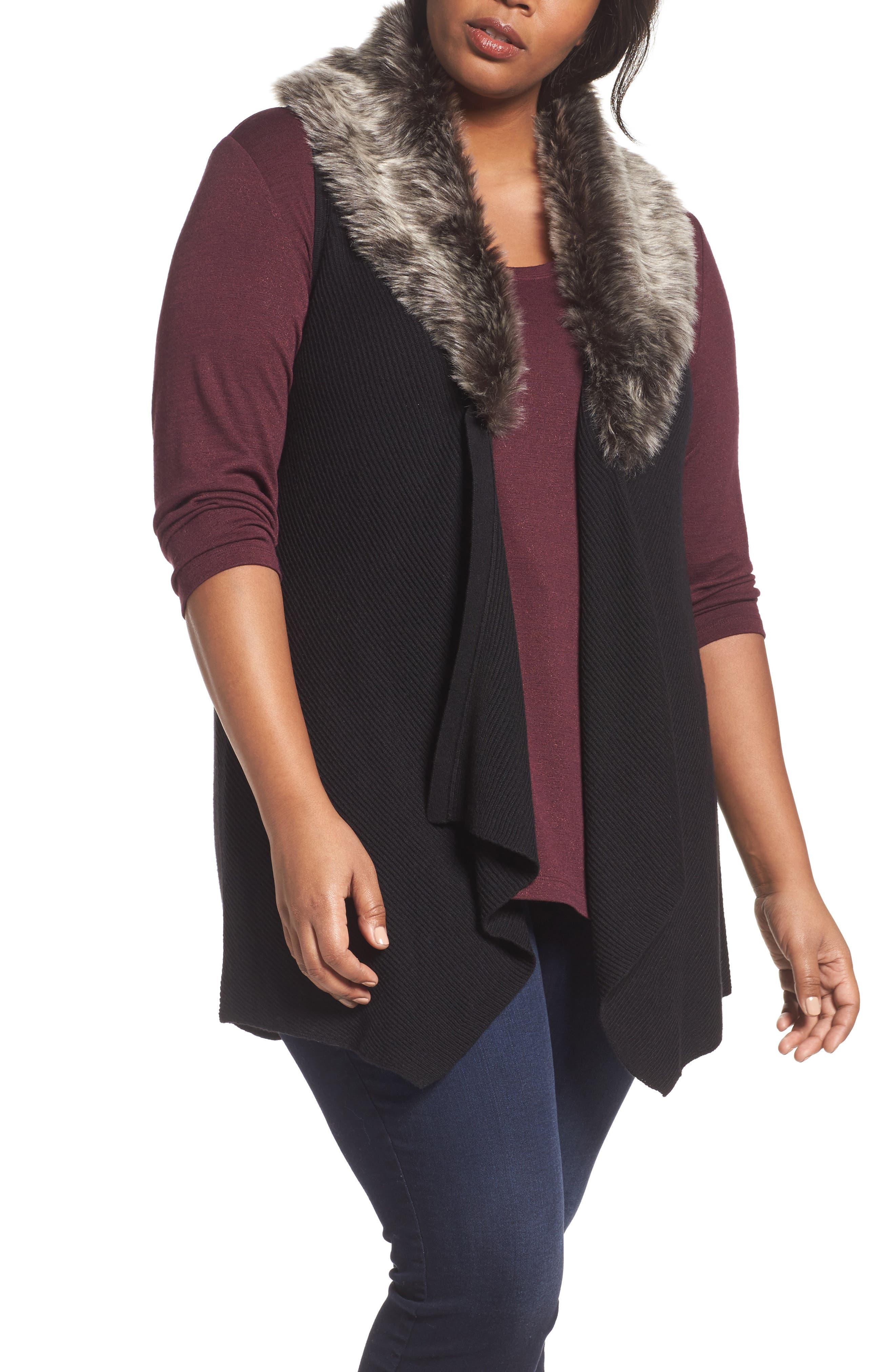 Detachable Faux Fur Trim Vest,                             Main thumbnail 1, color,                             Black