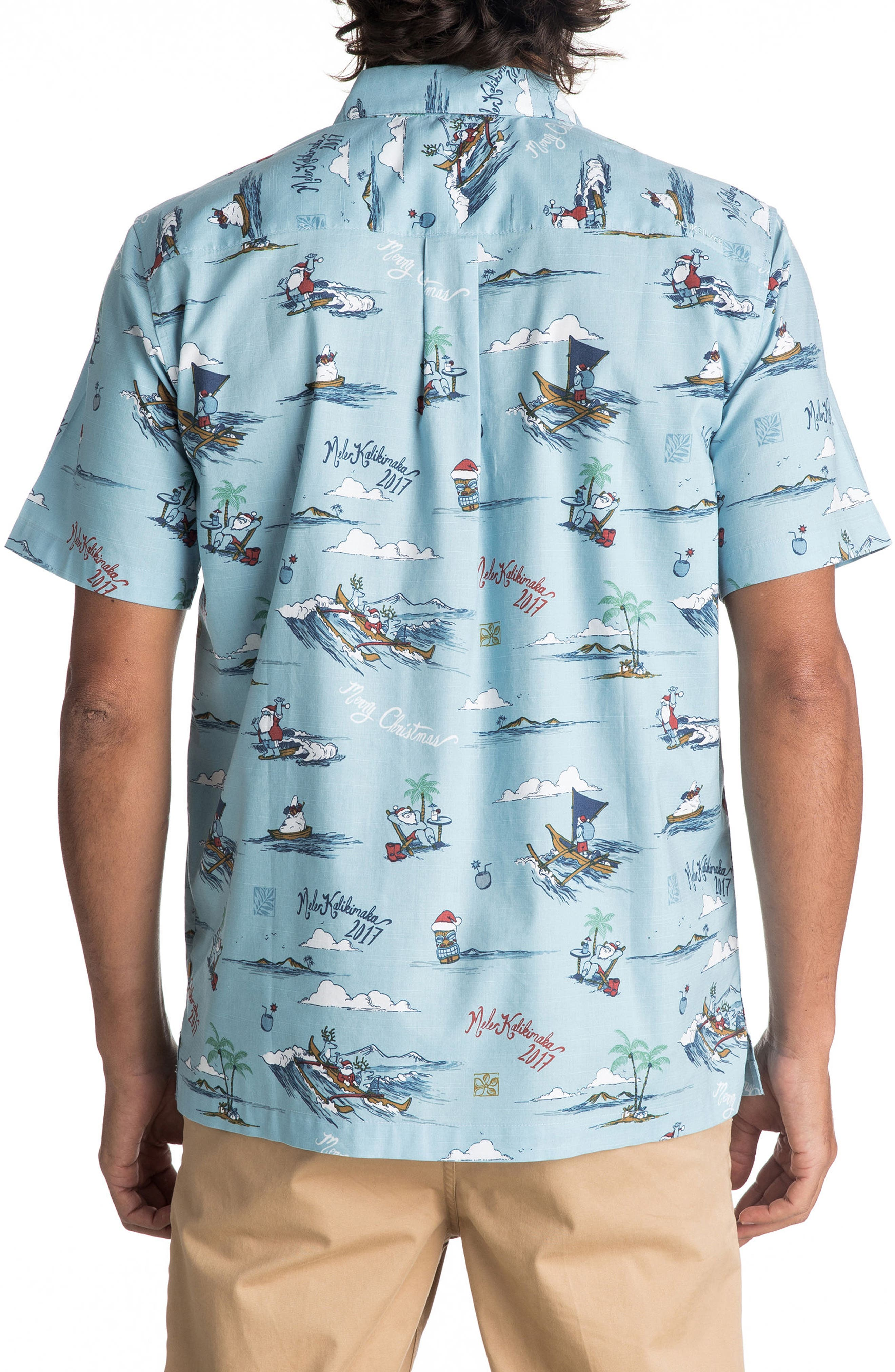Alternate Image 2  - Quiksilver Waterman Collection Christmas In Makano Camp Shirt