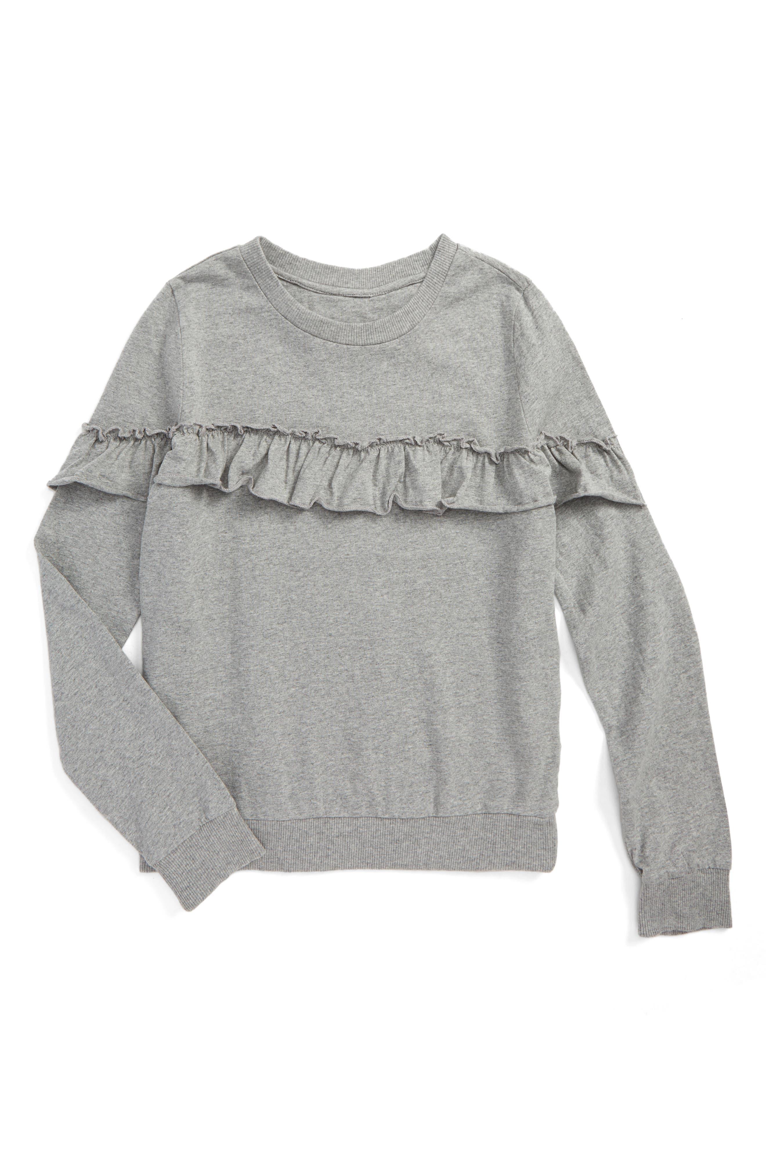 Ruffle Sweatshirt,                         Main,                         color, Heather/ Flash
