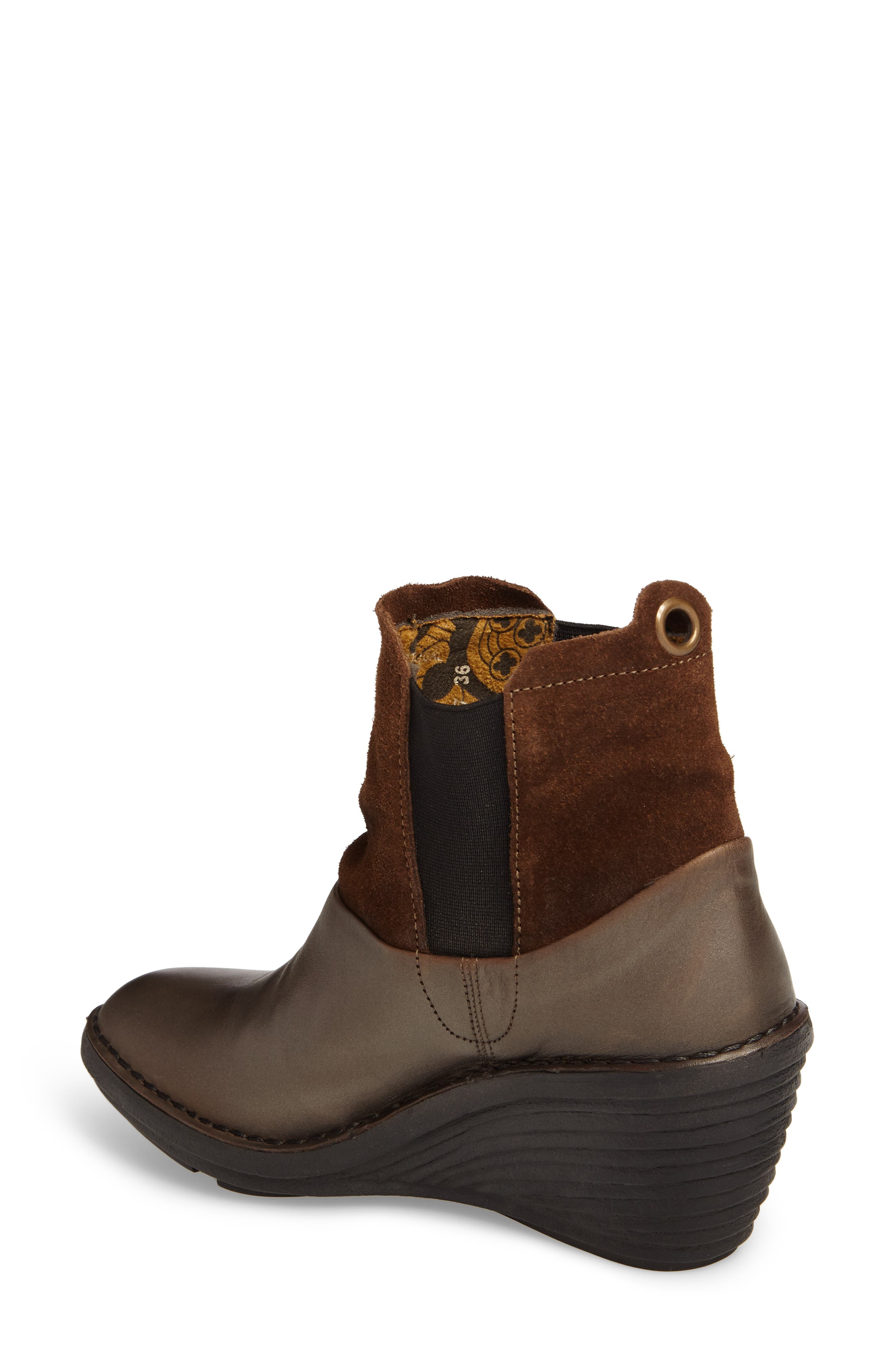 Sula Wedge Bootie,                             Alternate thumbnail 2, color,                             Olive/ Camel Suede