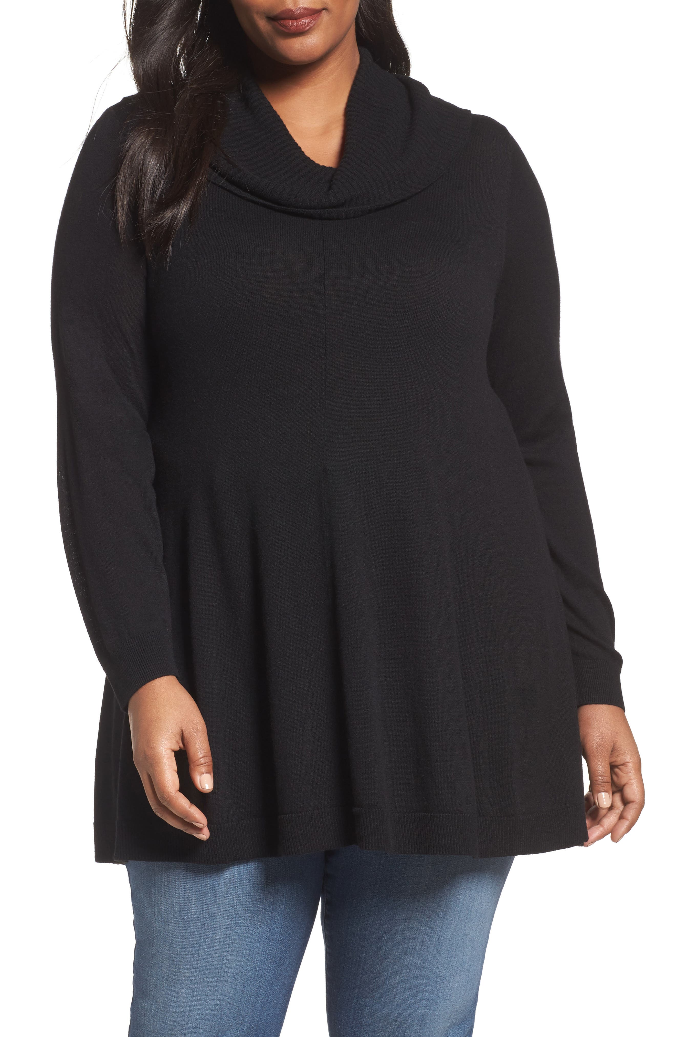 Cowl Neck Tunic,                         Main,                         color, Black