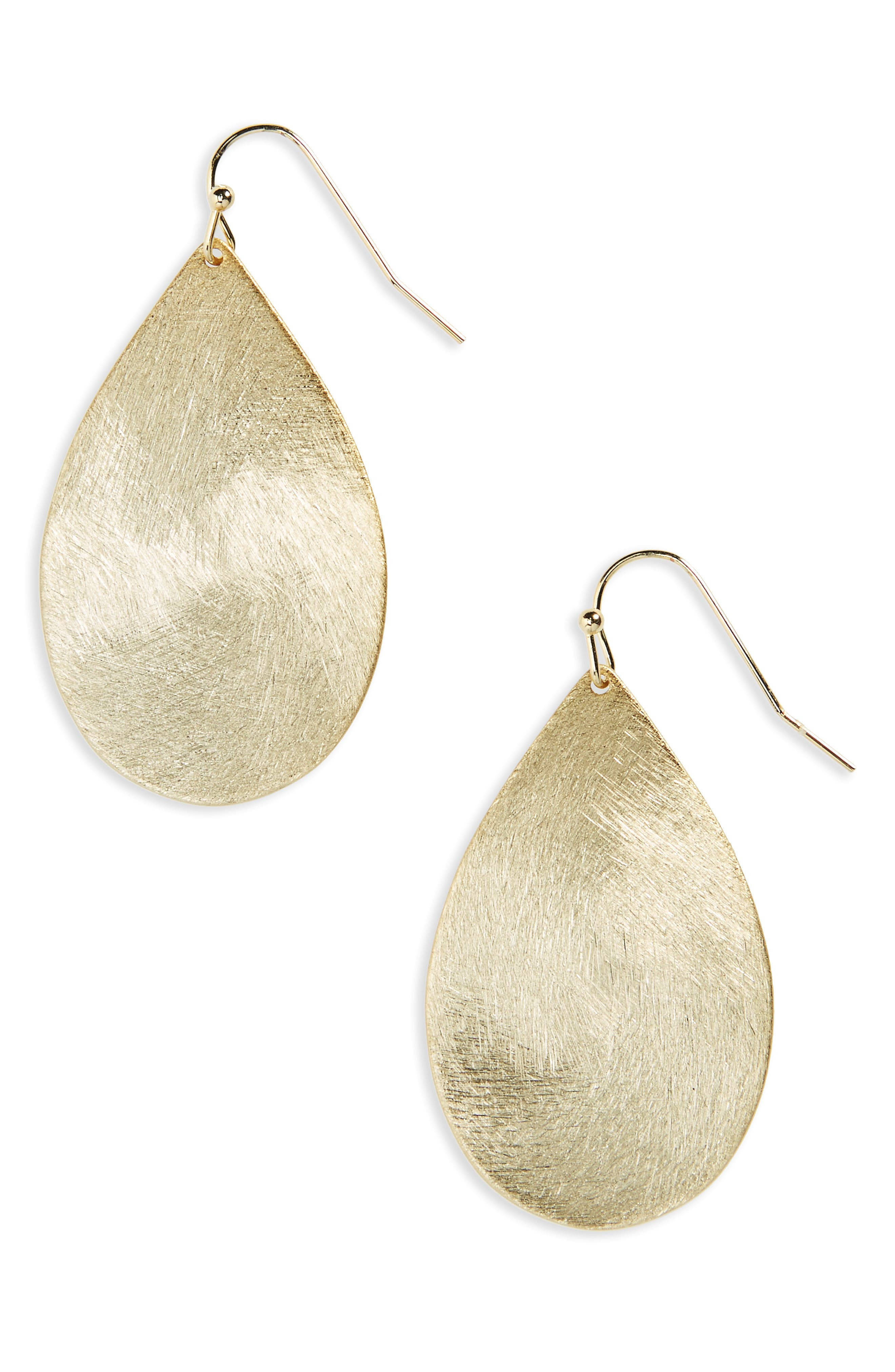 Large Brushed Teardrop Earrings,                         Main,                         color, Gold