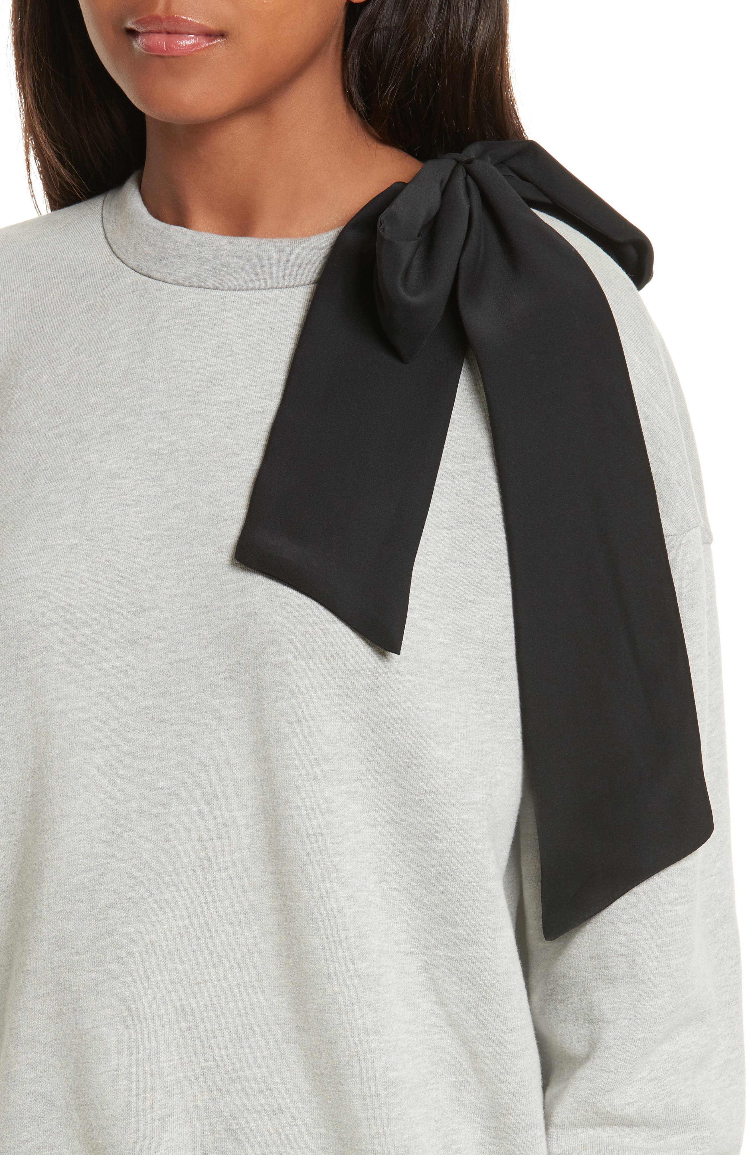 Bow Sweatshirt,                             Alternate thumbnail 4, color,                             Gris