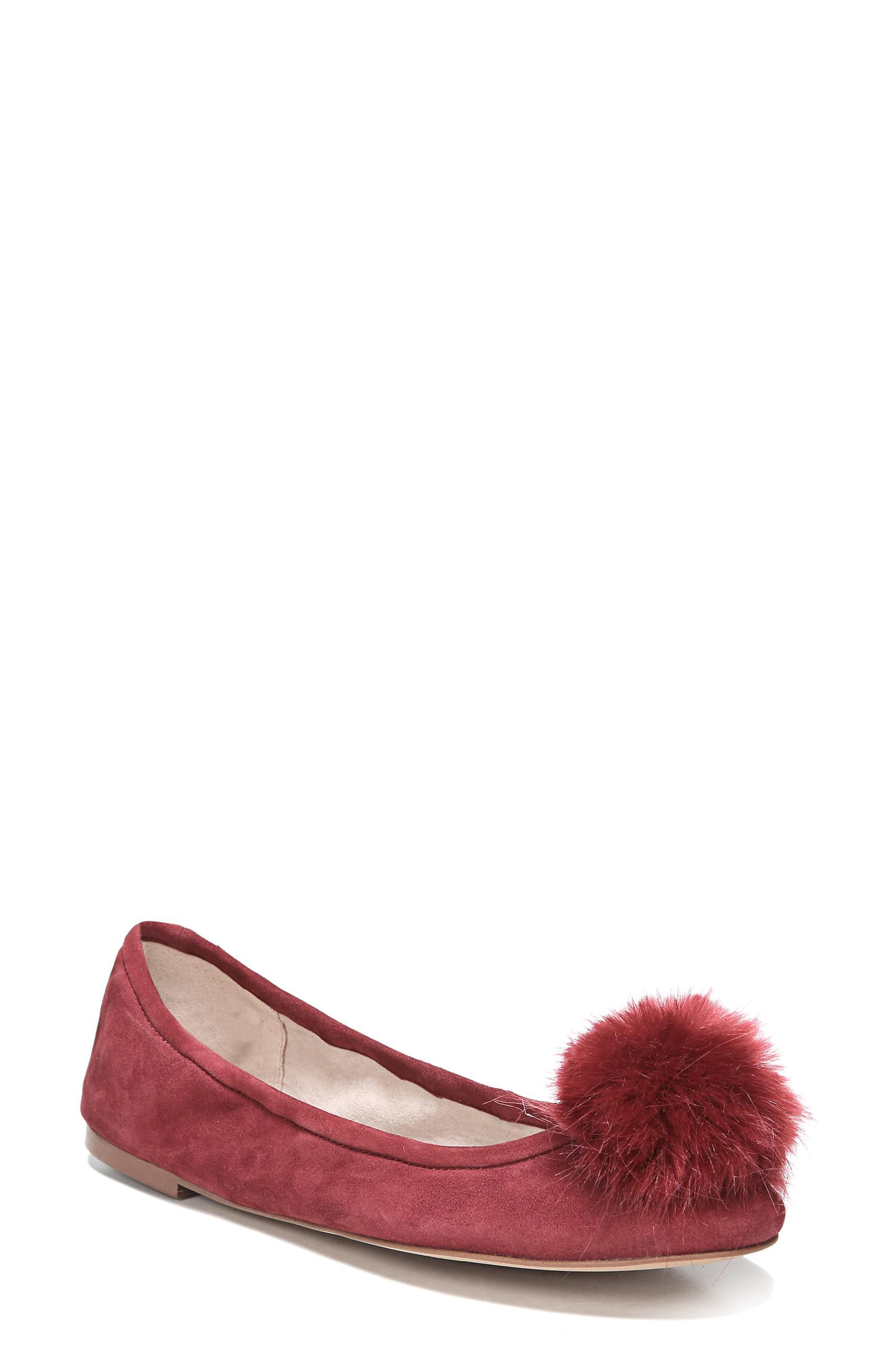 Farina Flat with Faux Fur Pompom,                         Main,                         color, Tango Red Leather