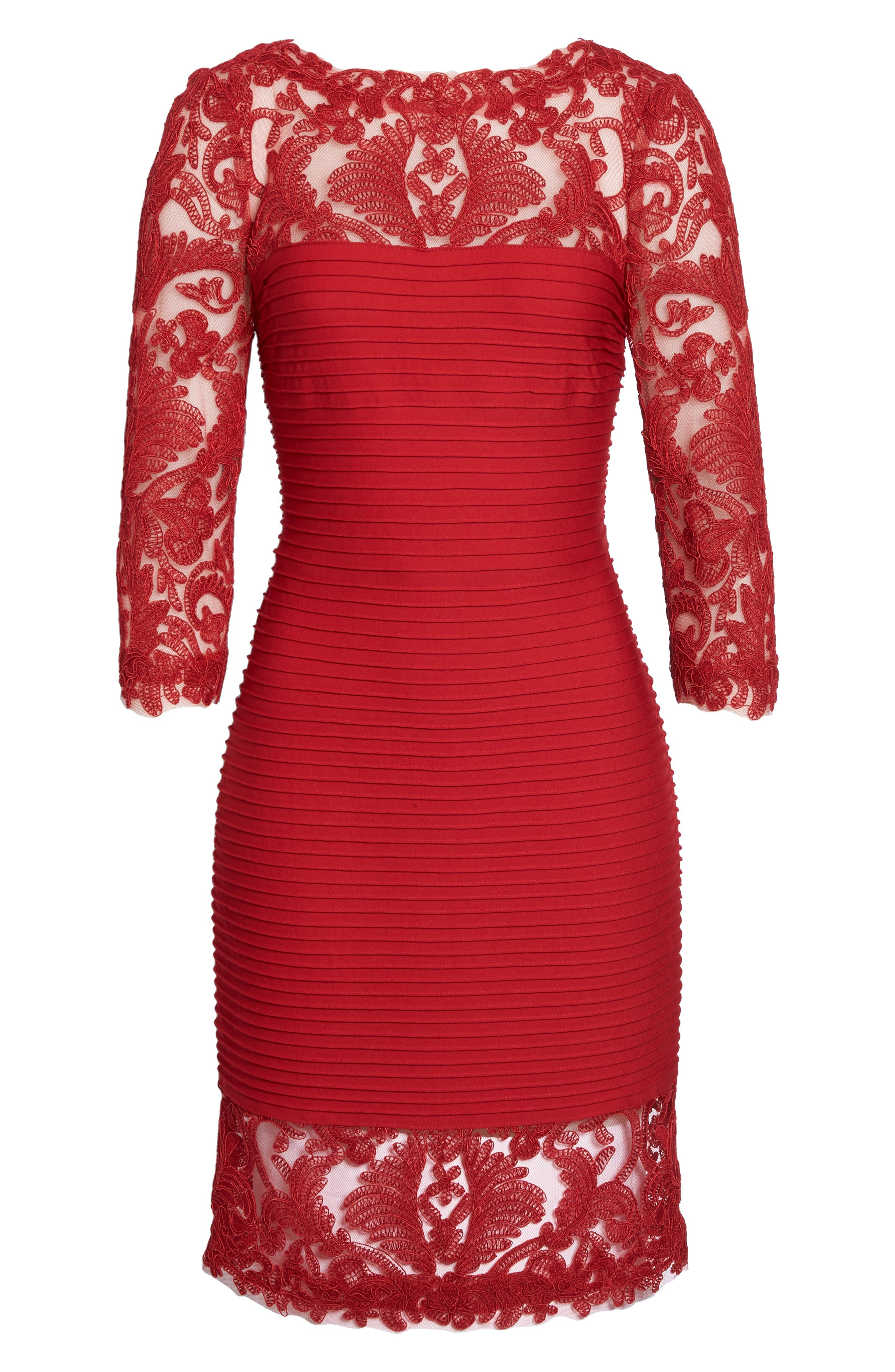 Illusion Pintuck Sheath Dress,                             Alternate thumbnail 6, color,                             Deep Red
