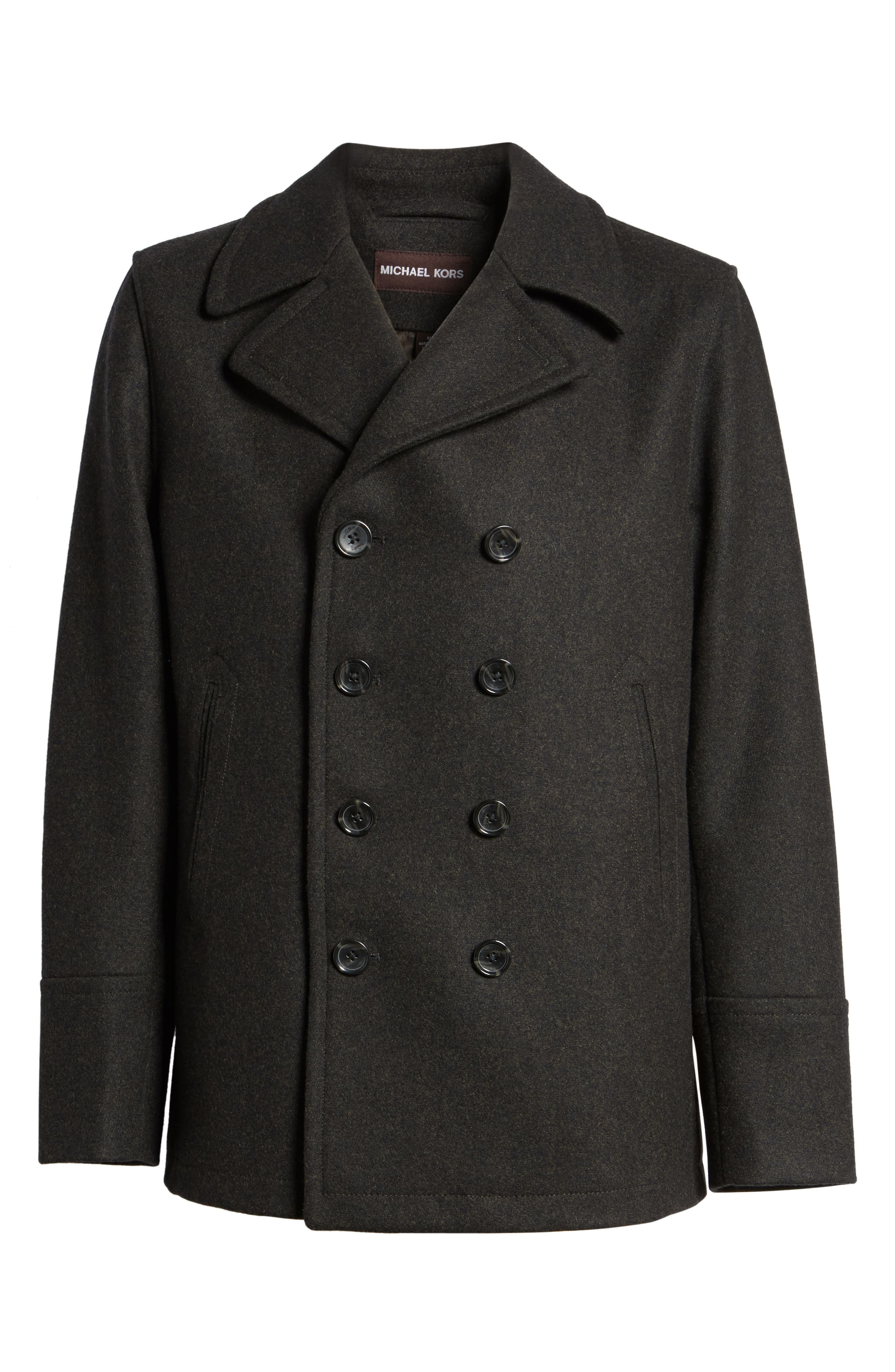 Wool Blend Peacoat,                             Alternate thumbnail 6, color,                             Loden Heather
