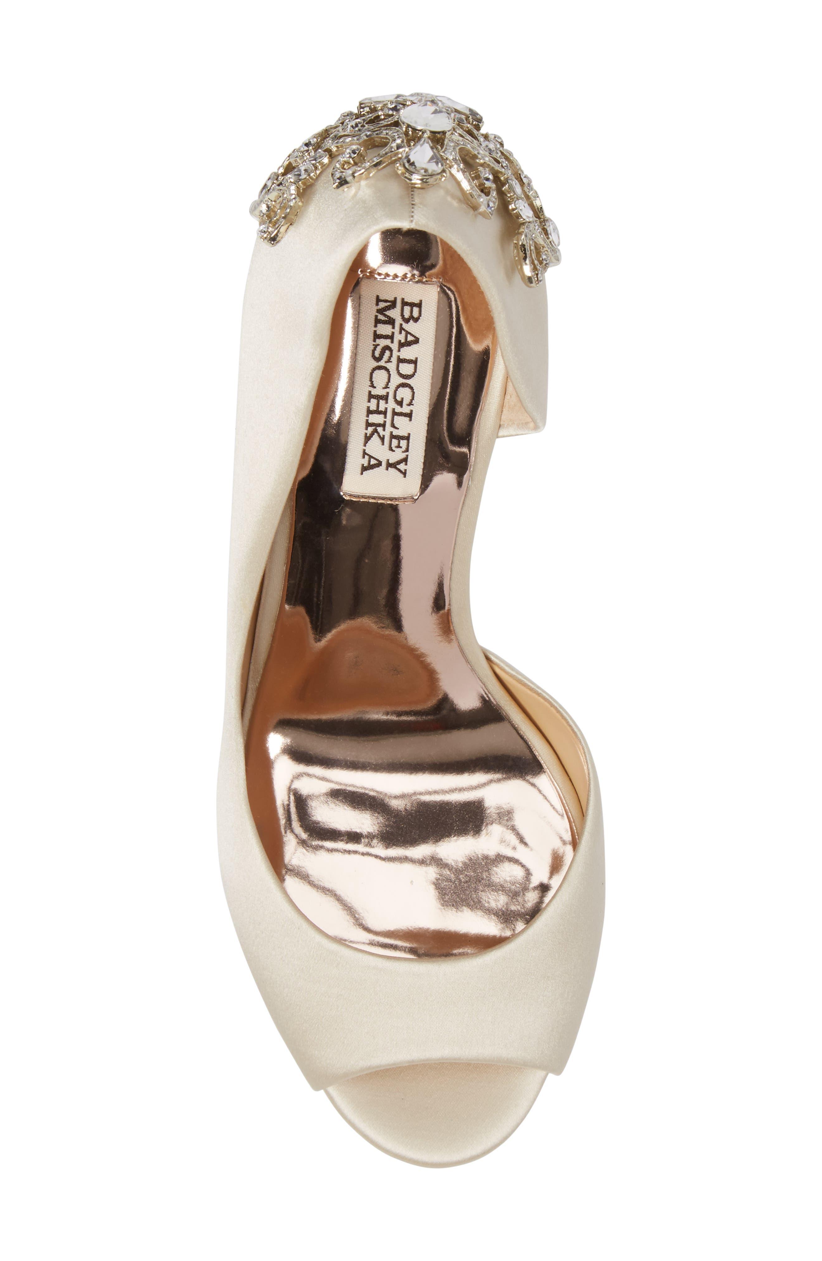 Meagan Embellished Peep Toe Wedge,                             Alternate thumbnail 5, color,                             Ivory Satin
